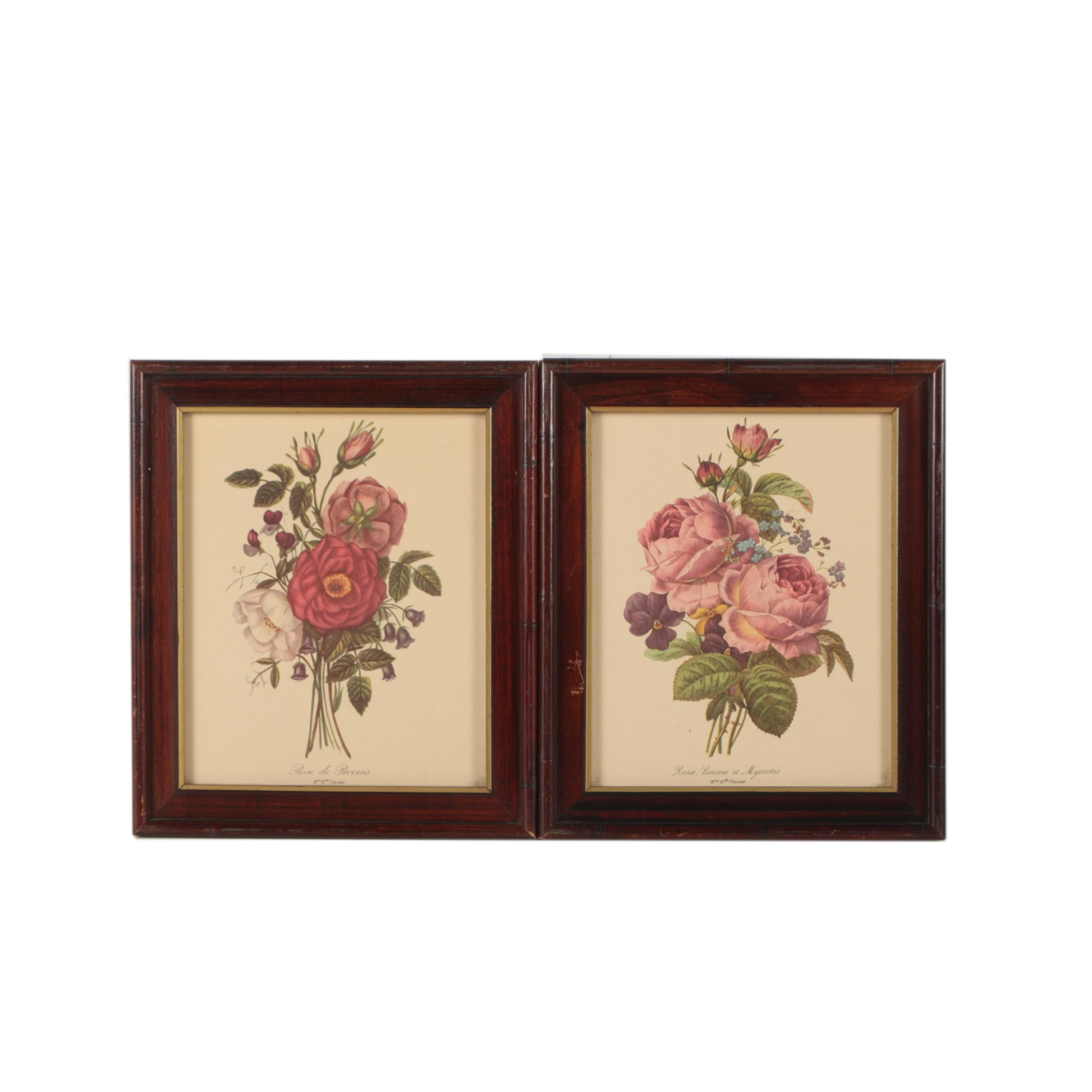 Two Offset Lithograph Prints on Paper of Roses after Henriette Vincent