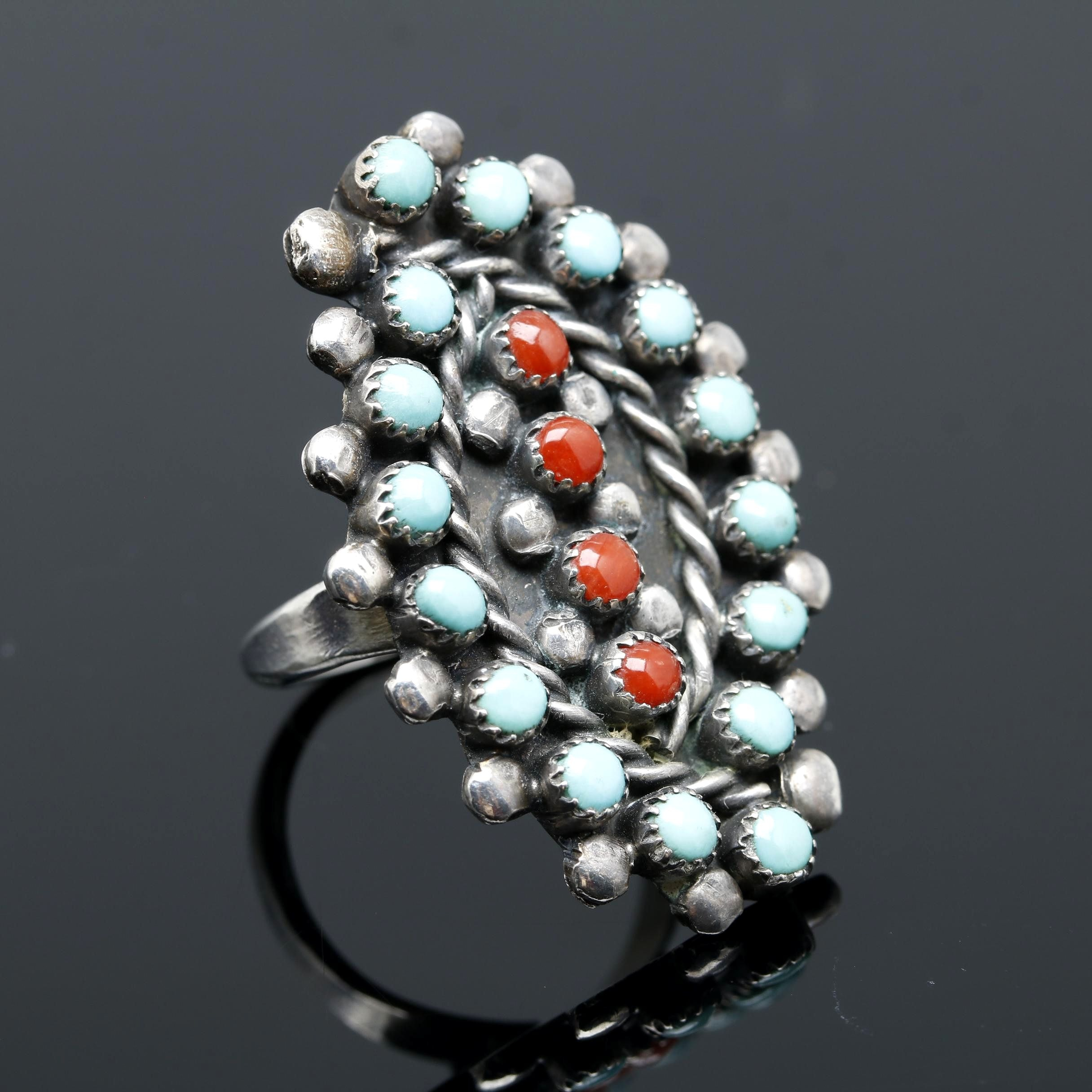 Bernal Natewa Zuni Sterling Silver Coral and Turquoise Ring