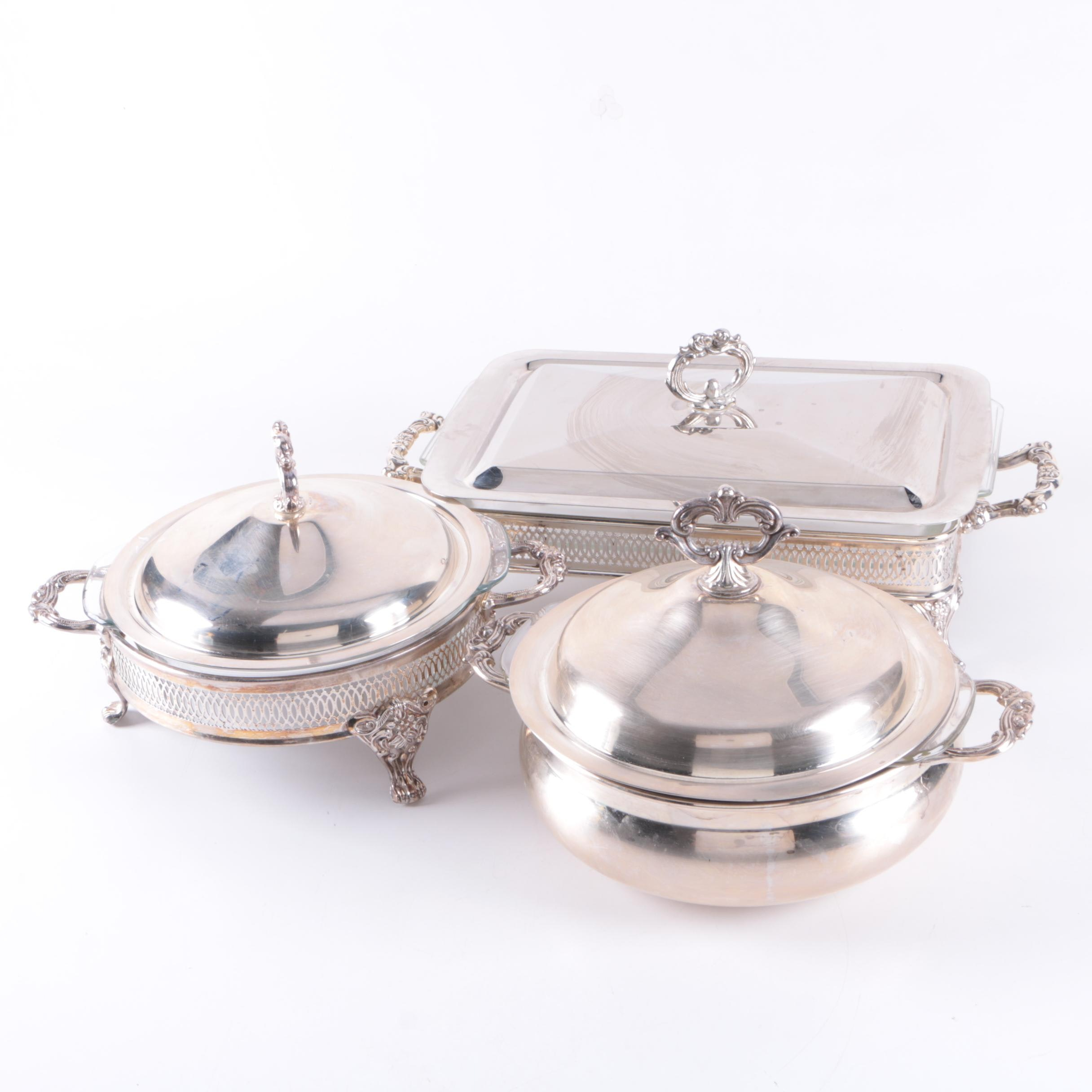 Silver Plate Chafing and Serving Dishes Featuring Anchor Hocking Glass Inserts