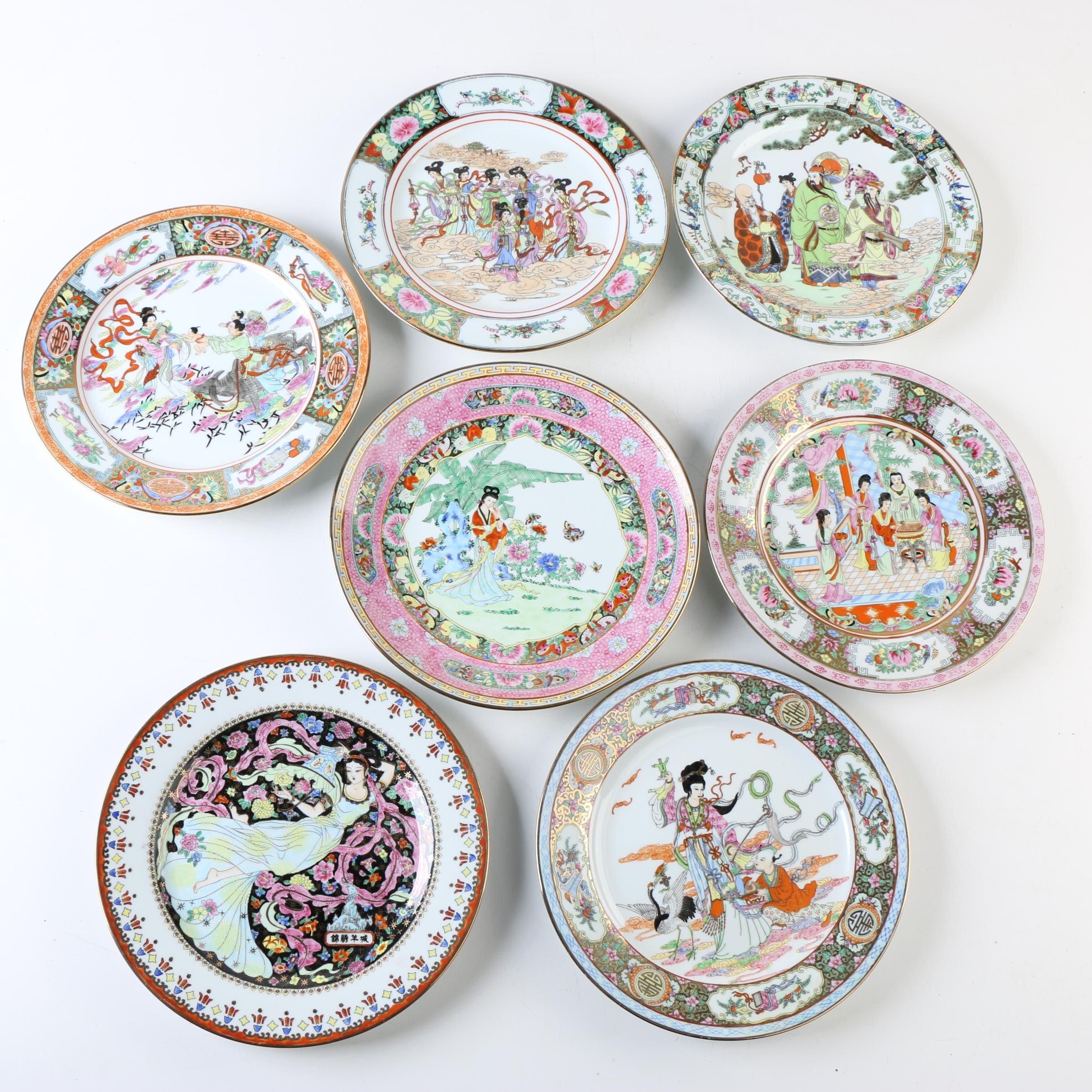 Hand-embellished Chinese Porcelain Decorative Plates