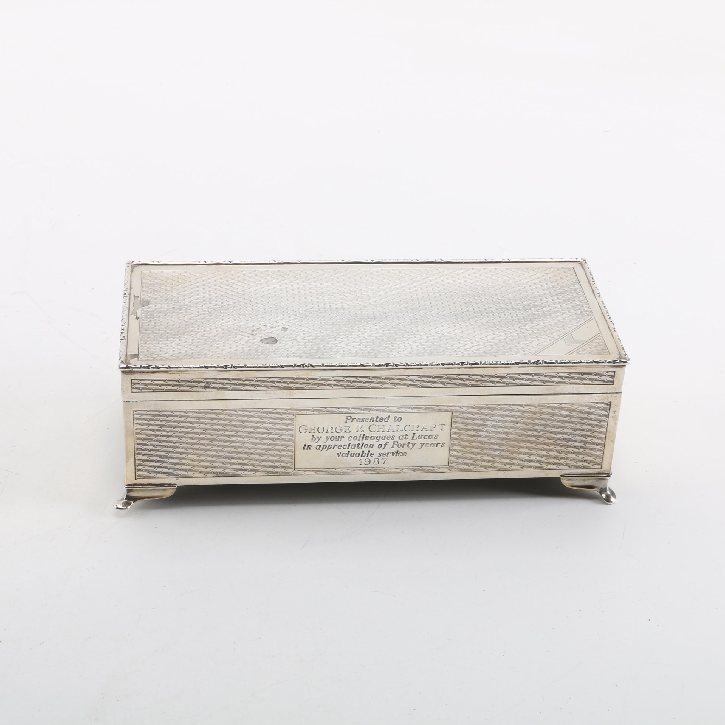 1987 Harman Brothers British Sterling Silver Engraved Cigar Box