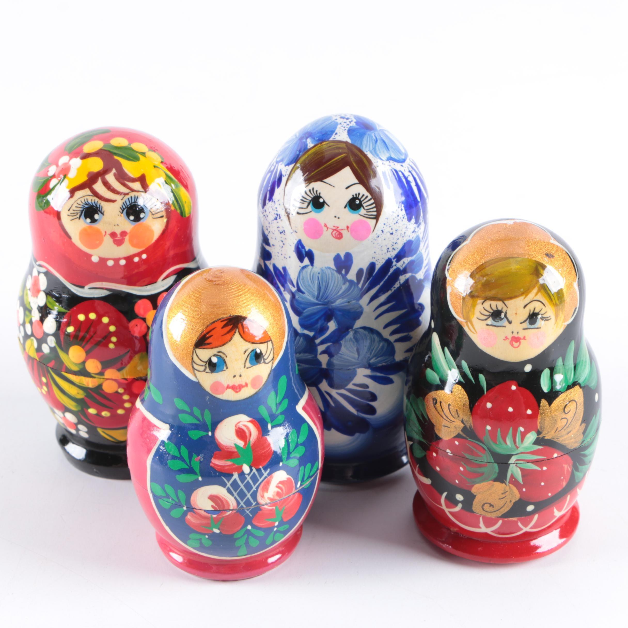 Vintage Hand-Painted Matryoshka Nesting Dolls
