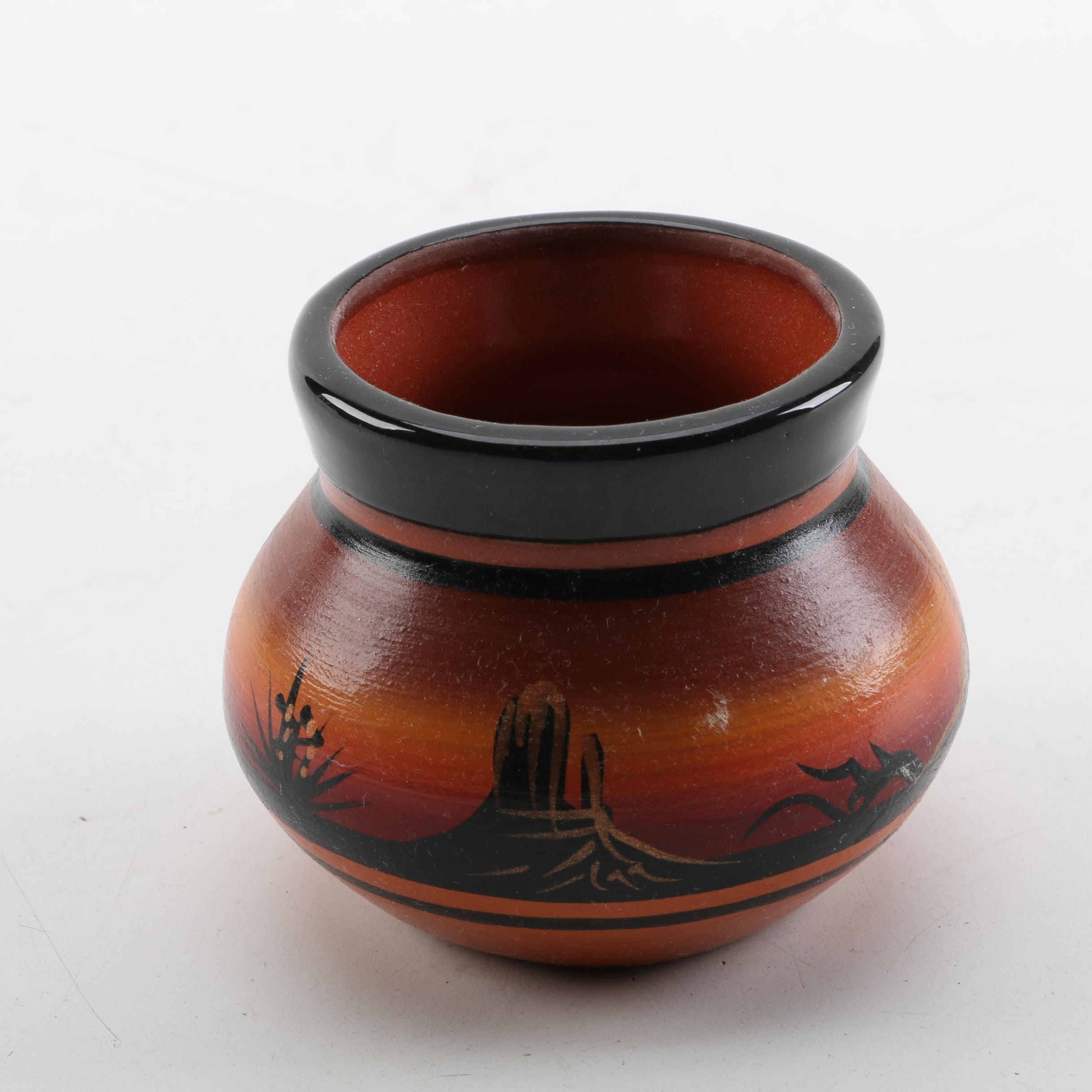 Signed Hand Painted Navajo Redware Pot