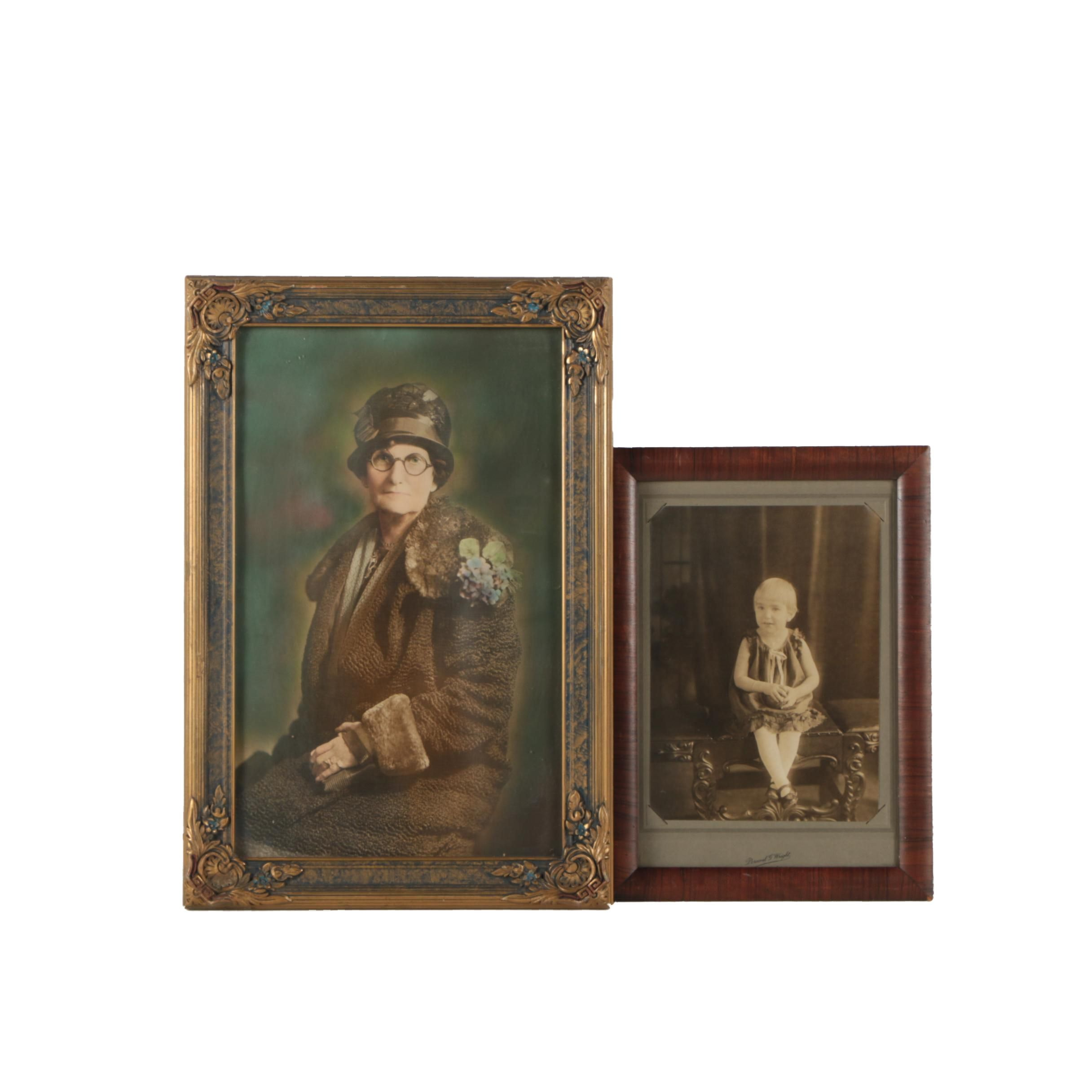 Antique Hand Tinted Portrait Photographs