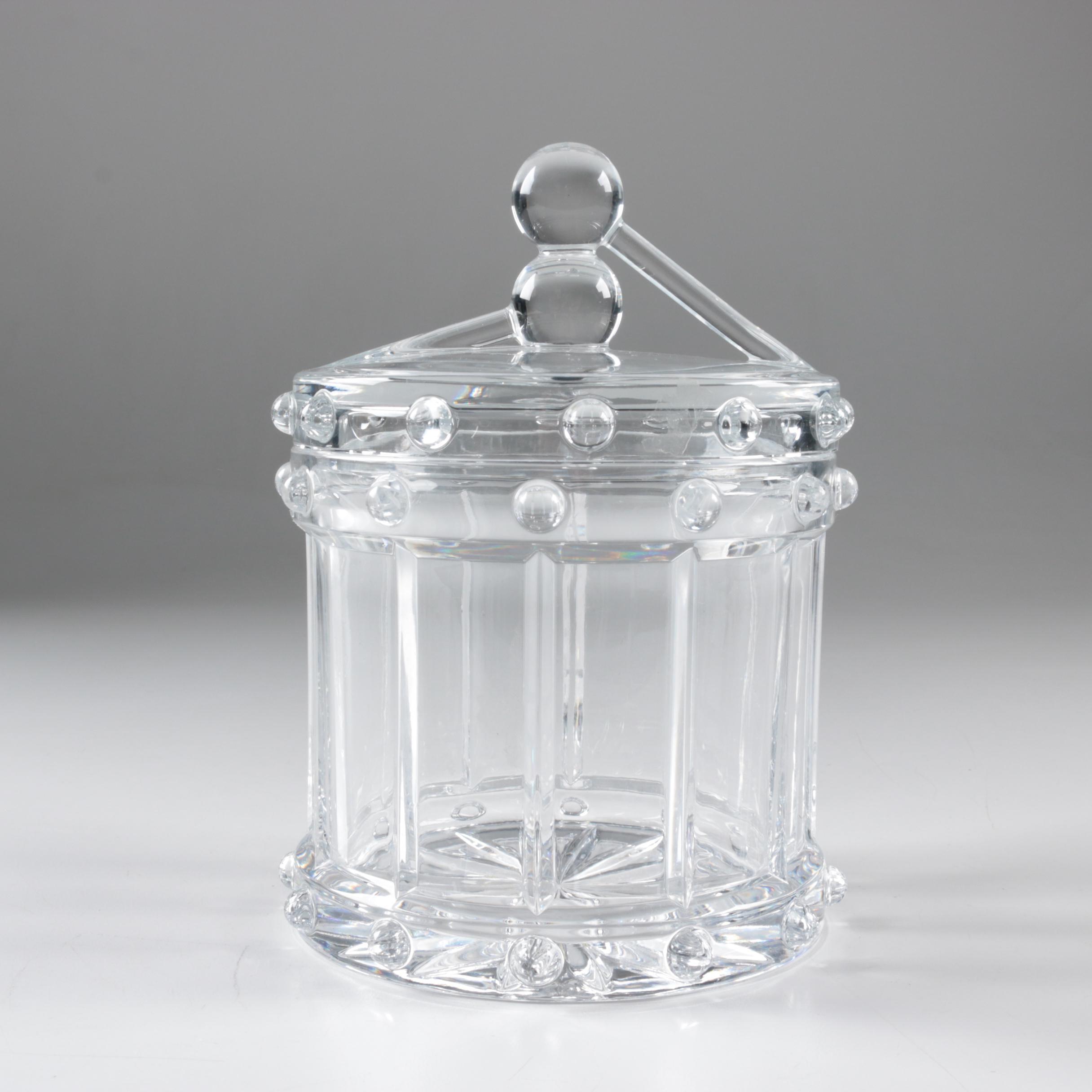 Glass Drum Shaped Biscuit Jar