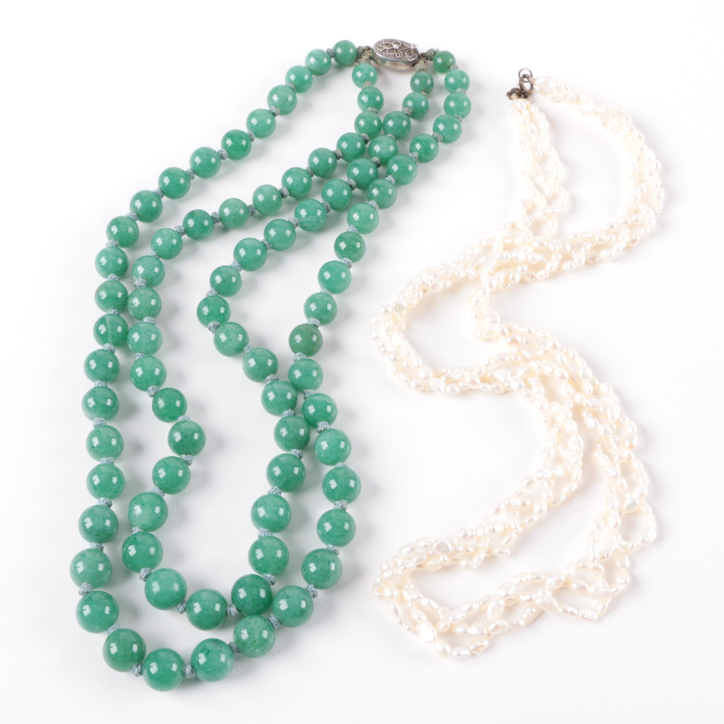 Sterling Silver Multi Strand Beaded Necklaces With Cultured Pearl and Aventurine