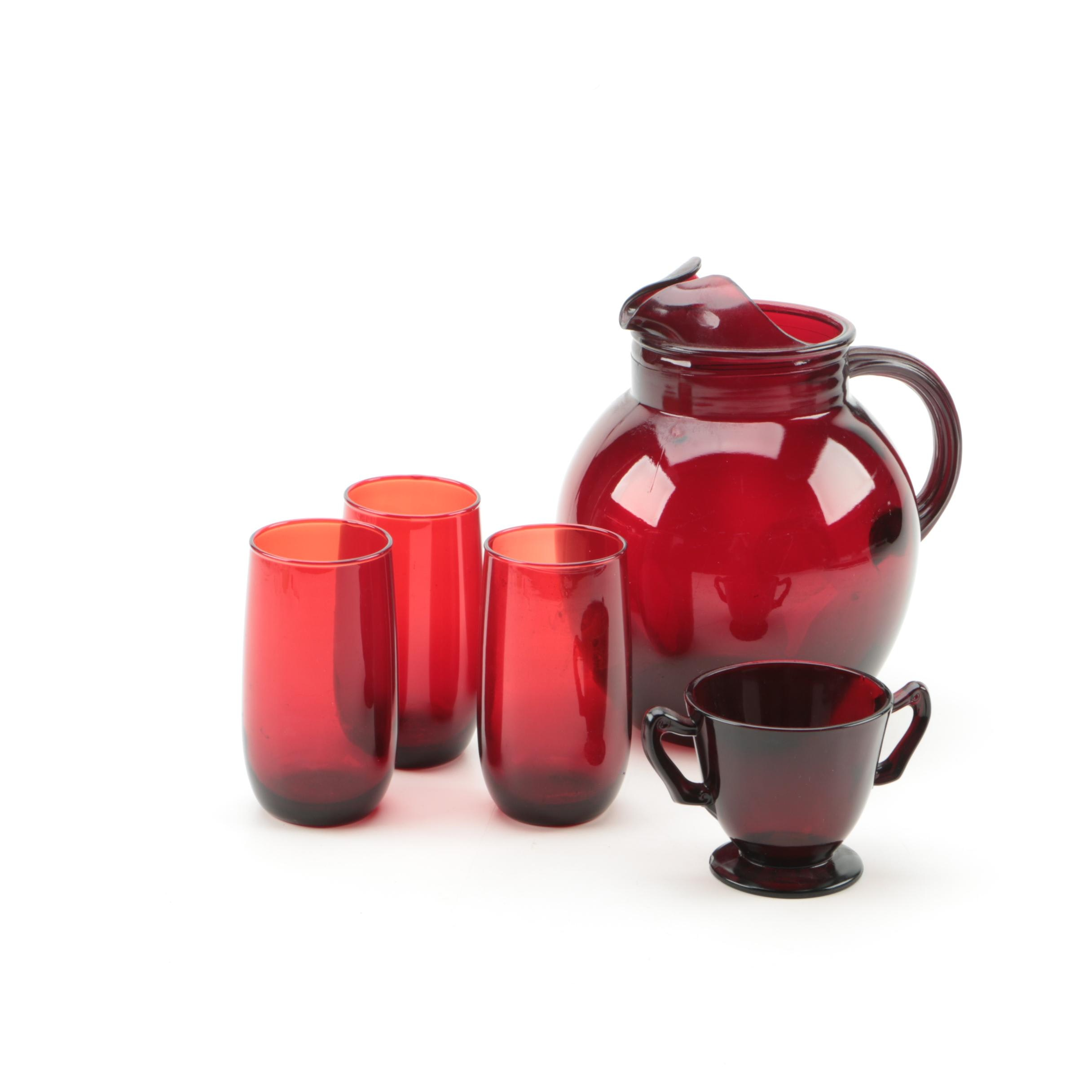 """Anchor Hocking """"Roly Poly Royal Ruby"""" Glassware"""