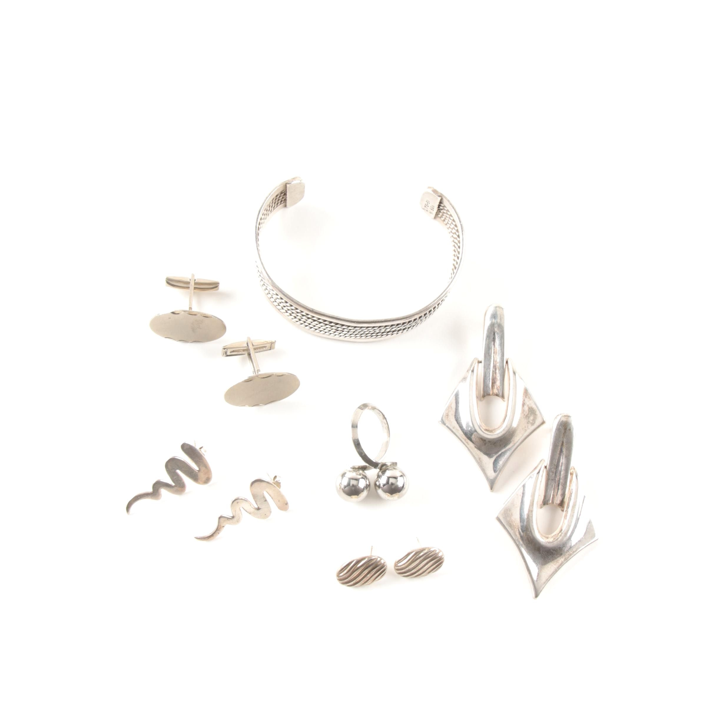 Sterling Silver Jewelry Including a Beau Bypass Ring and Taxco Cuff Bracelet