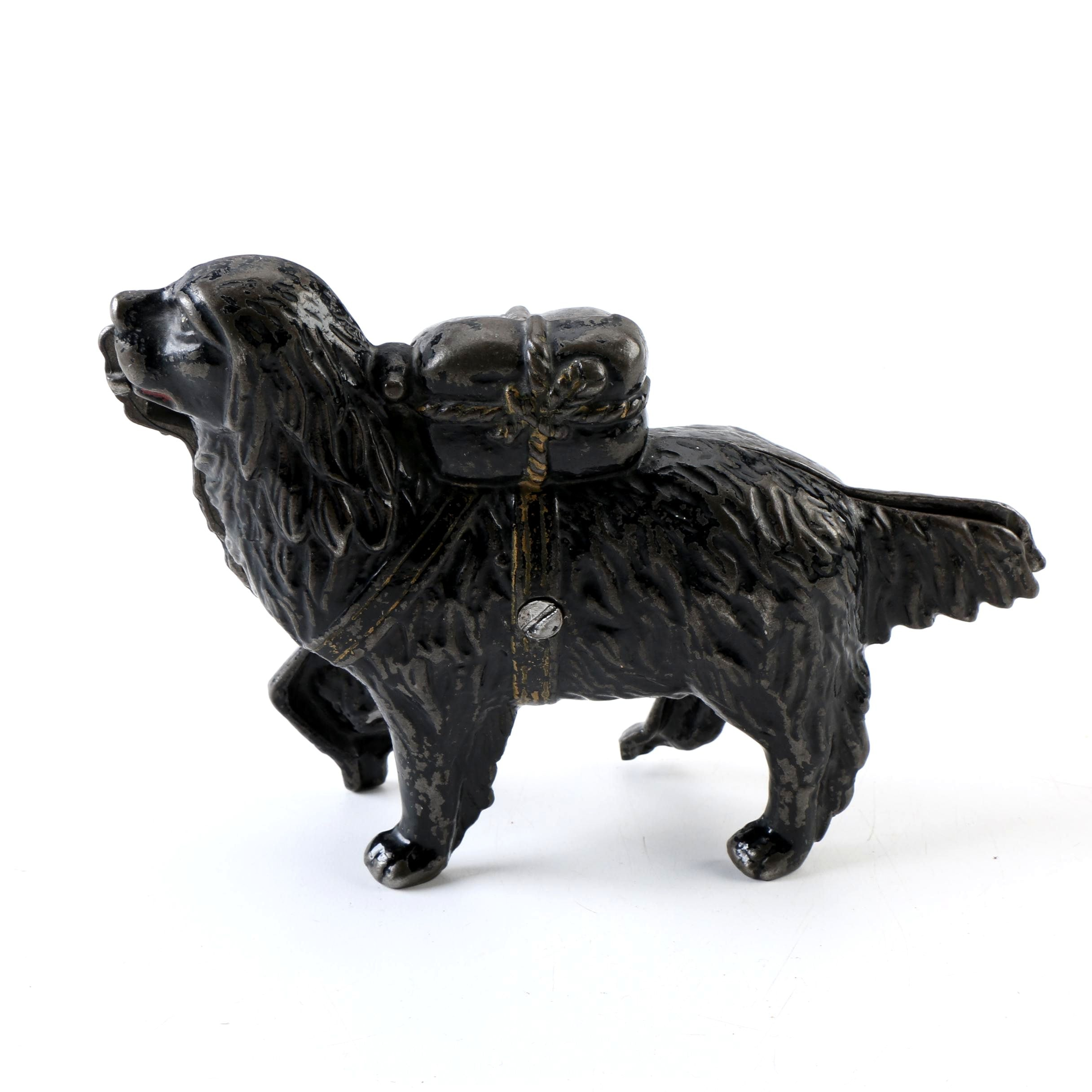 Early-20th Century A.C. Williams Cast Iron St. Bernard with Pack Coin Bank