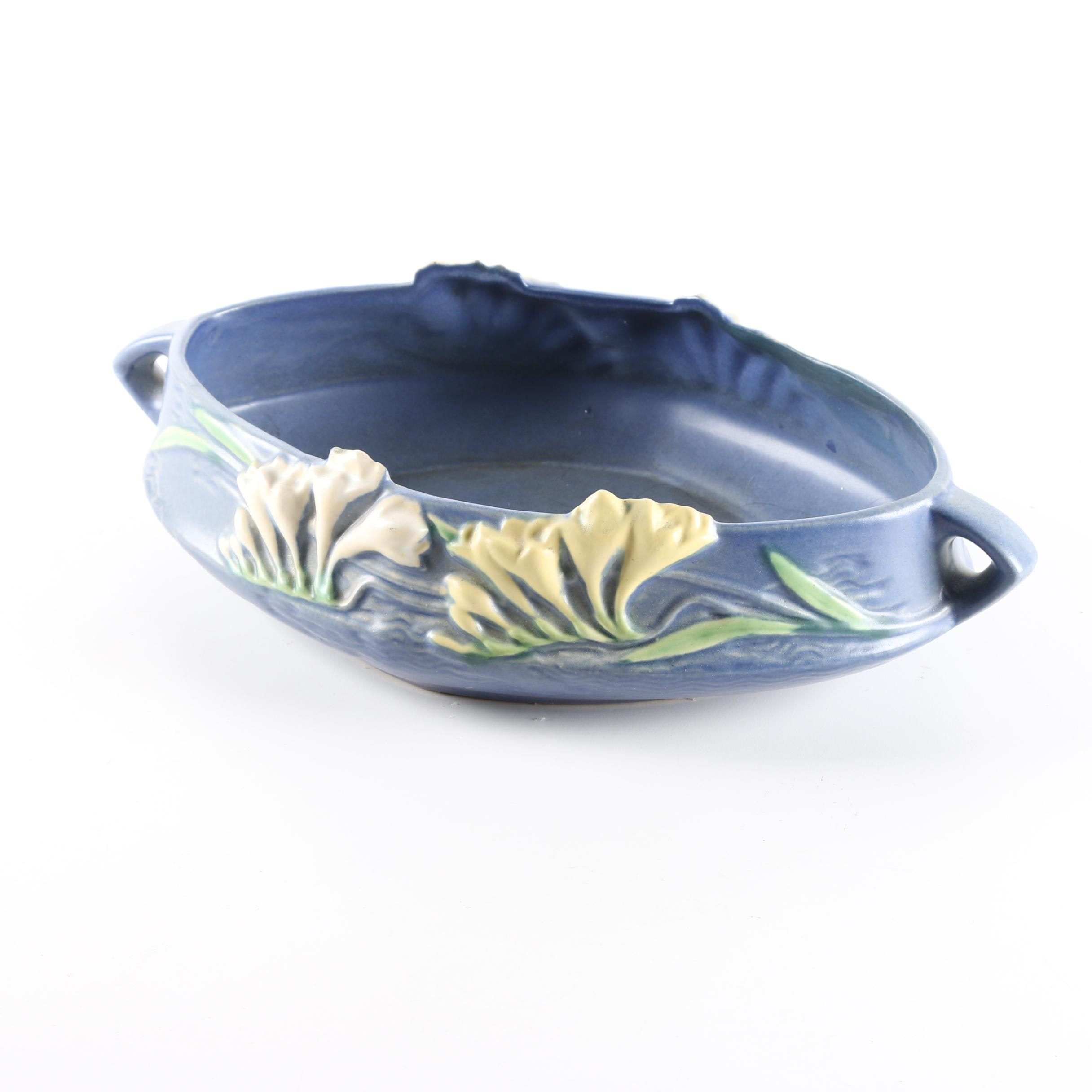 "Roseville ""Freesia"" Console Bowl in Blue"
