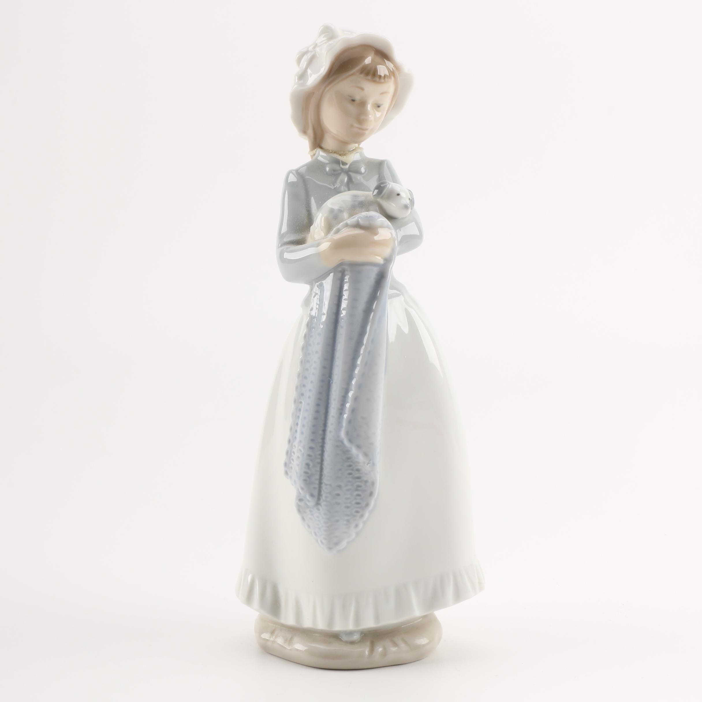 """NAO by Lladró """"Girl with Puppy Dog and Blanket"""" Figurine"""