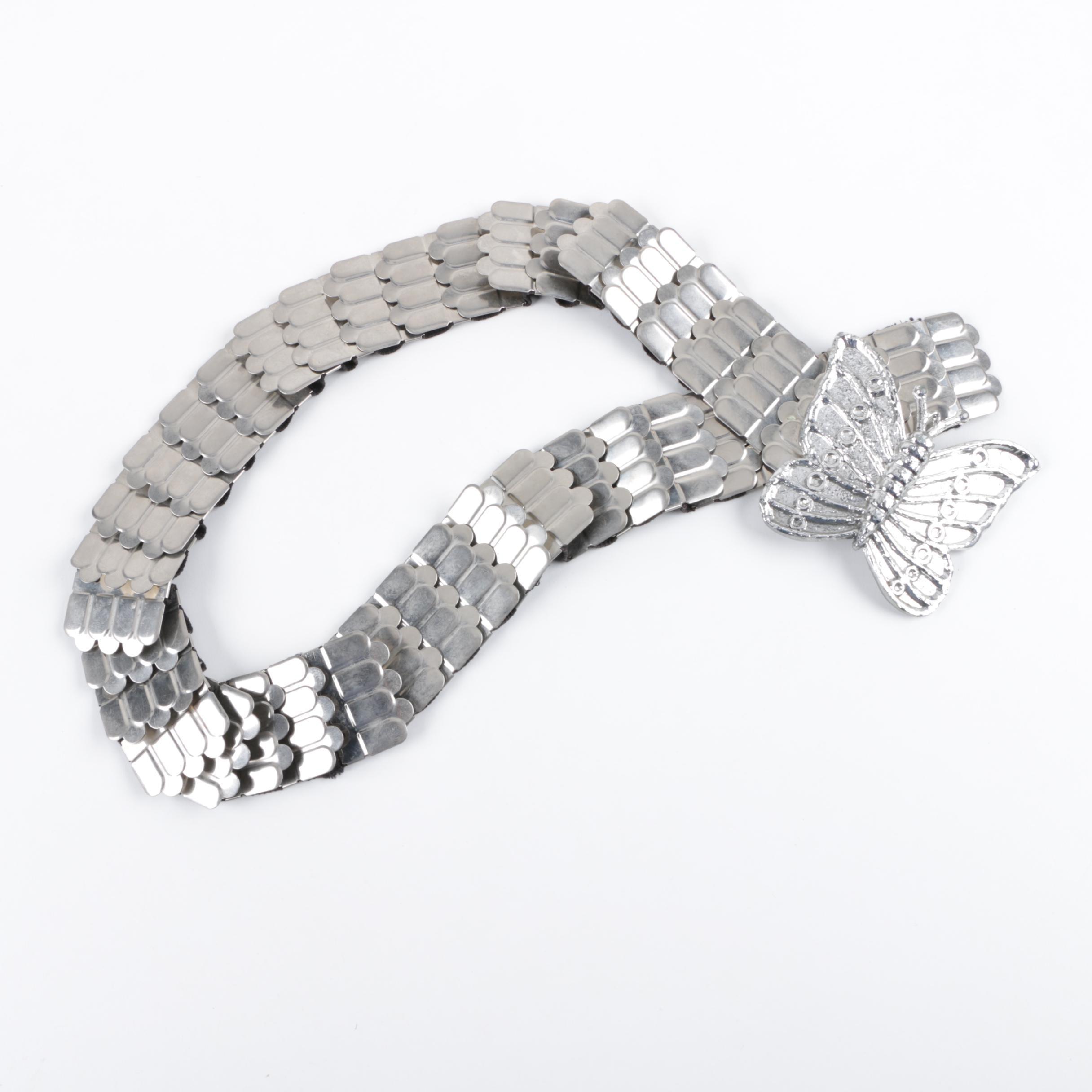 Vintage Silver Tone Stretch Butterfly Belt