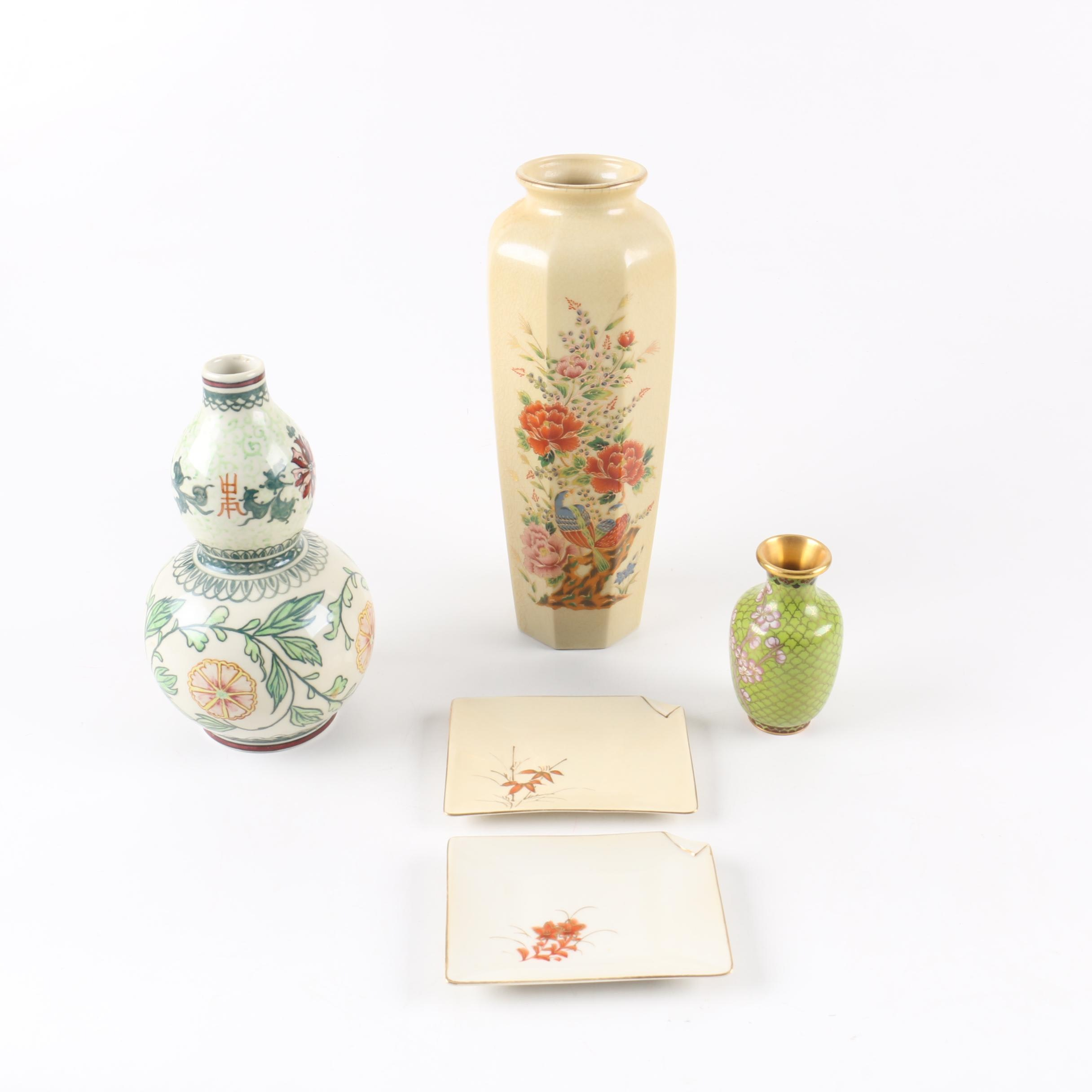 Group of East Asian Vases and Dishes Including Cloisonne