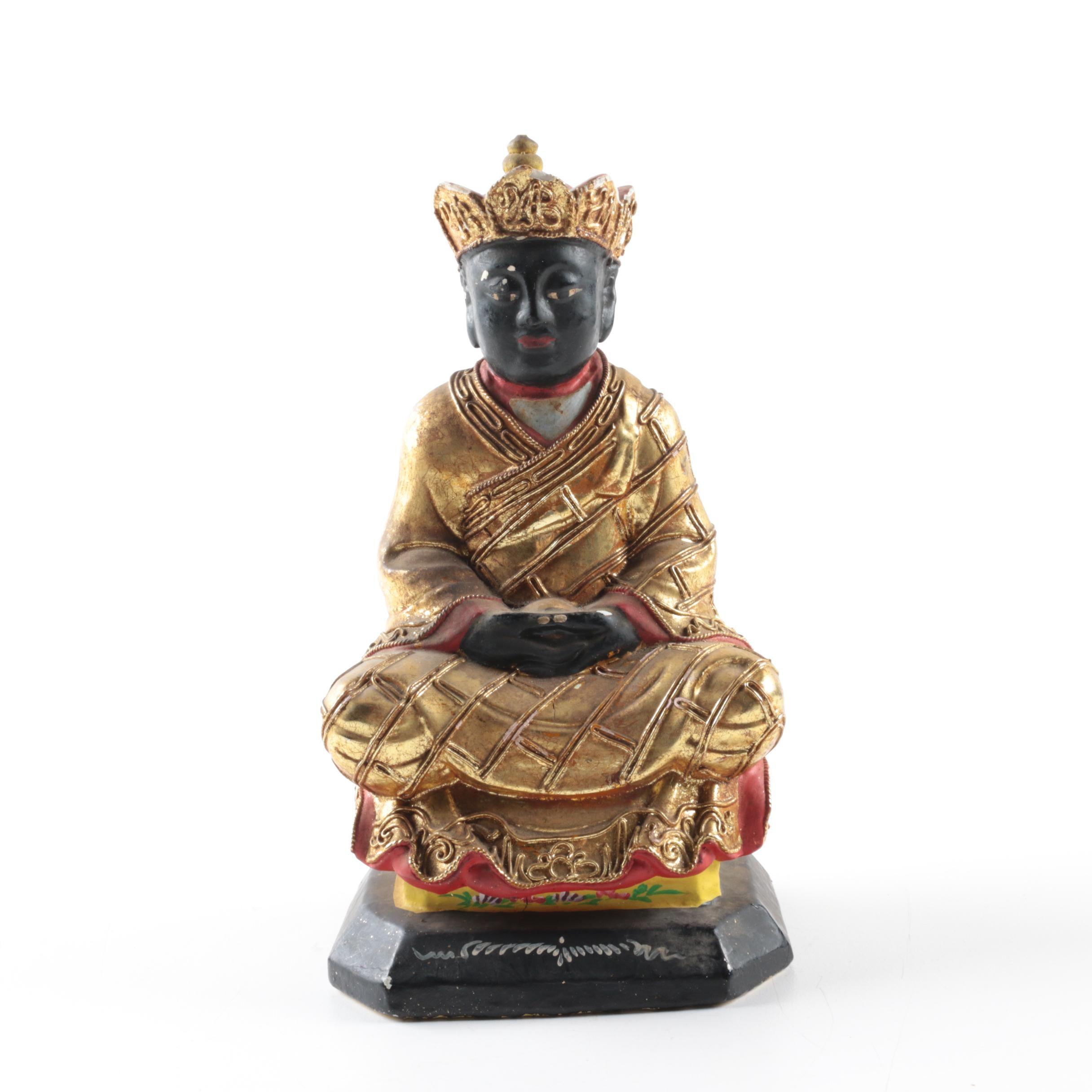 Sino-Tibetan Hand-Painted Wooden Sculpture