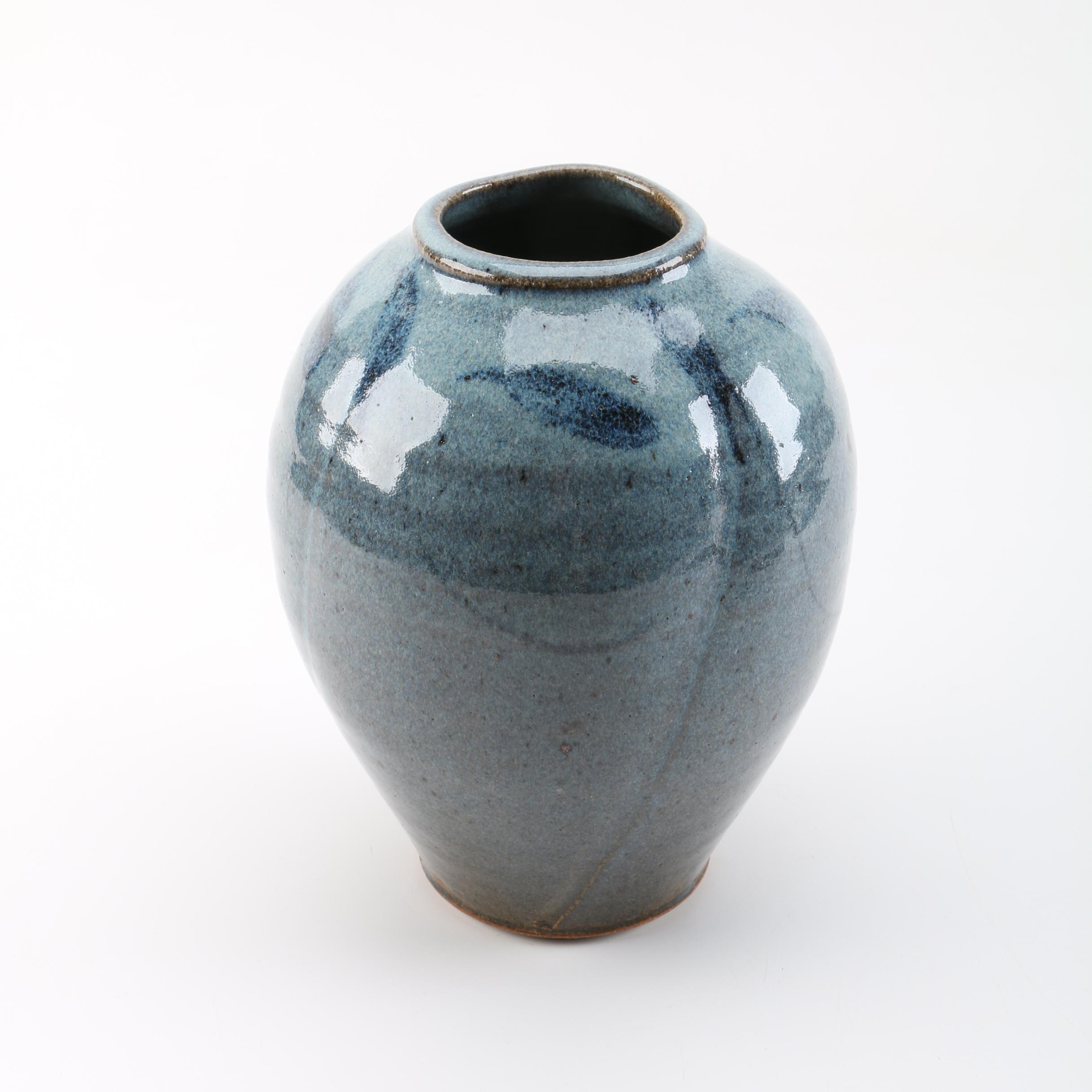 Blue Glazed Stoneware Vase