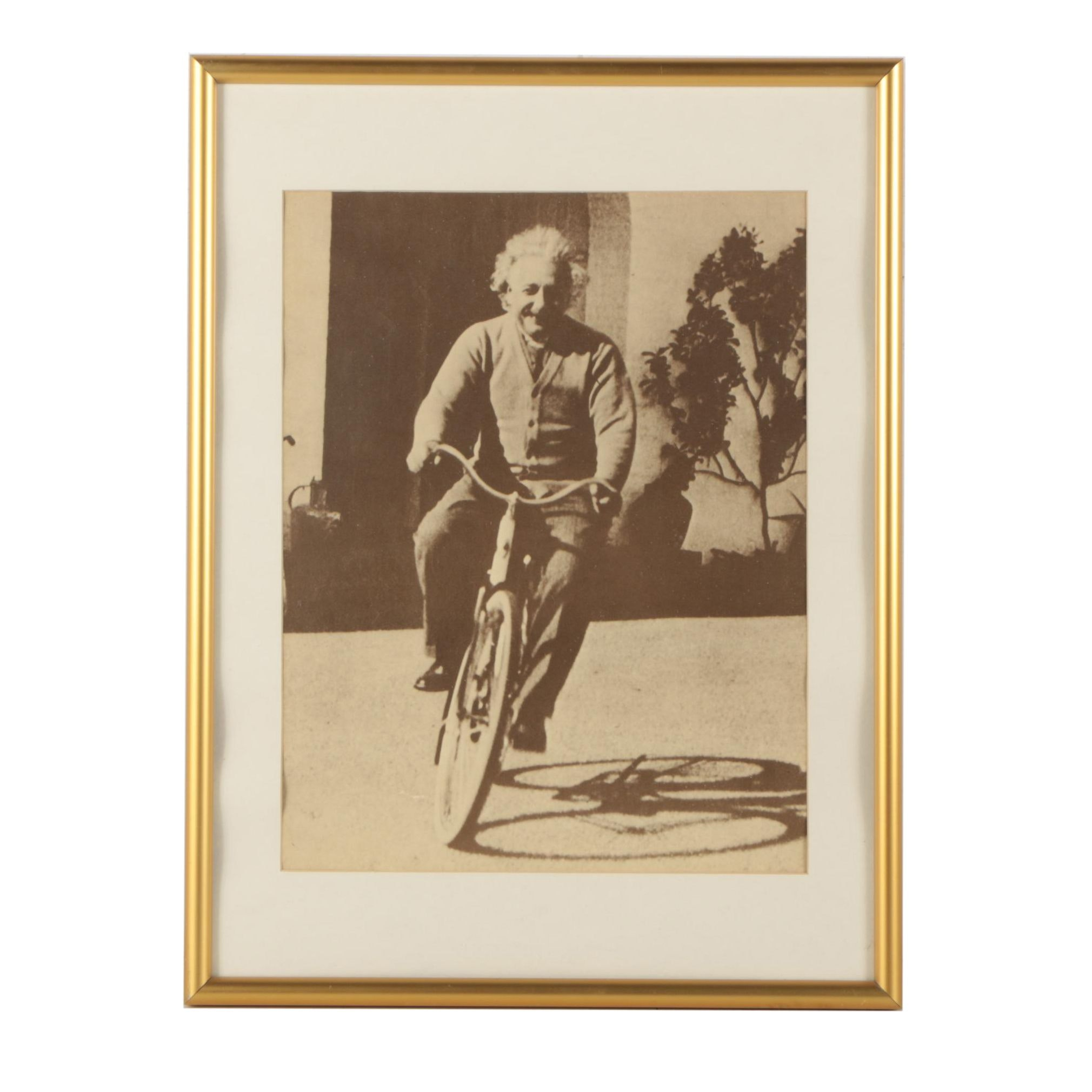 Halftone Print After Photograph of Albert Einstein on Bicycle