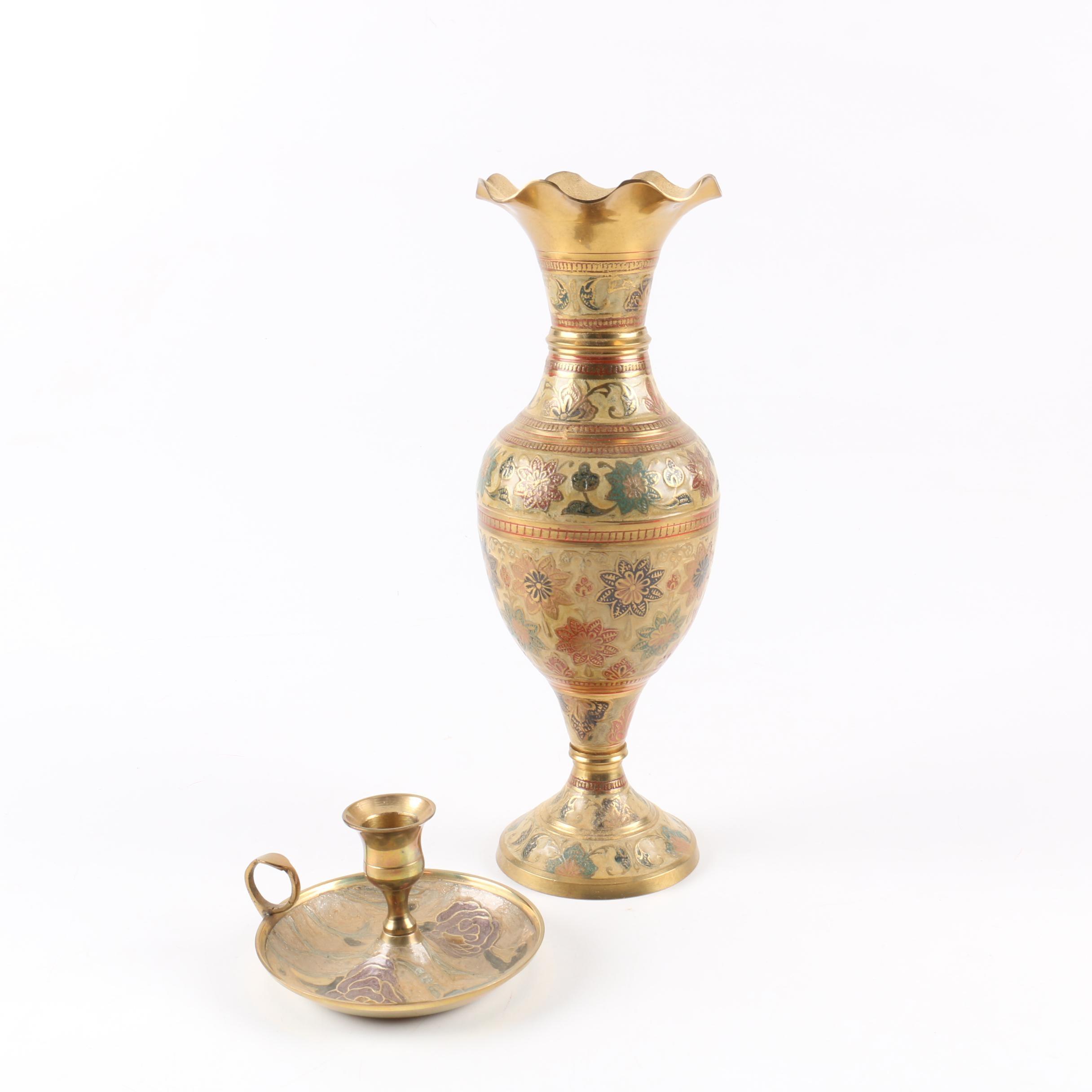 Indian Enameled Brass Vase and Candle Holder