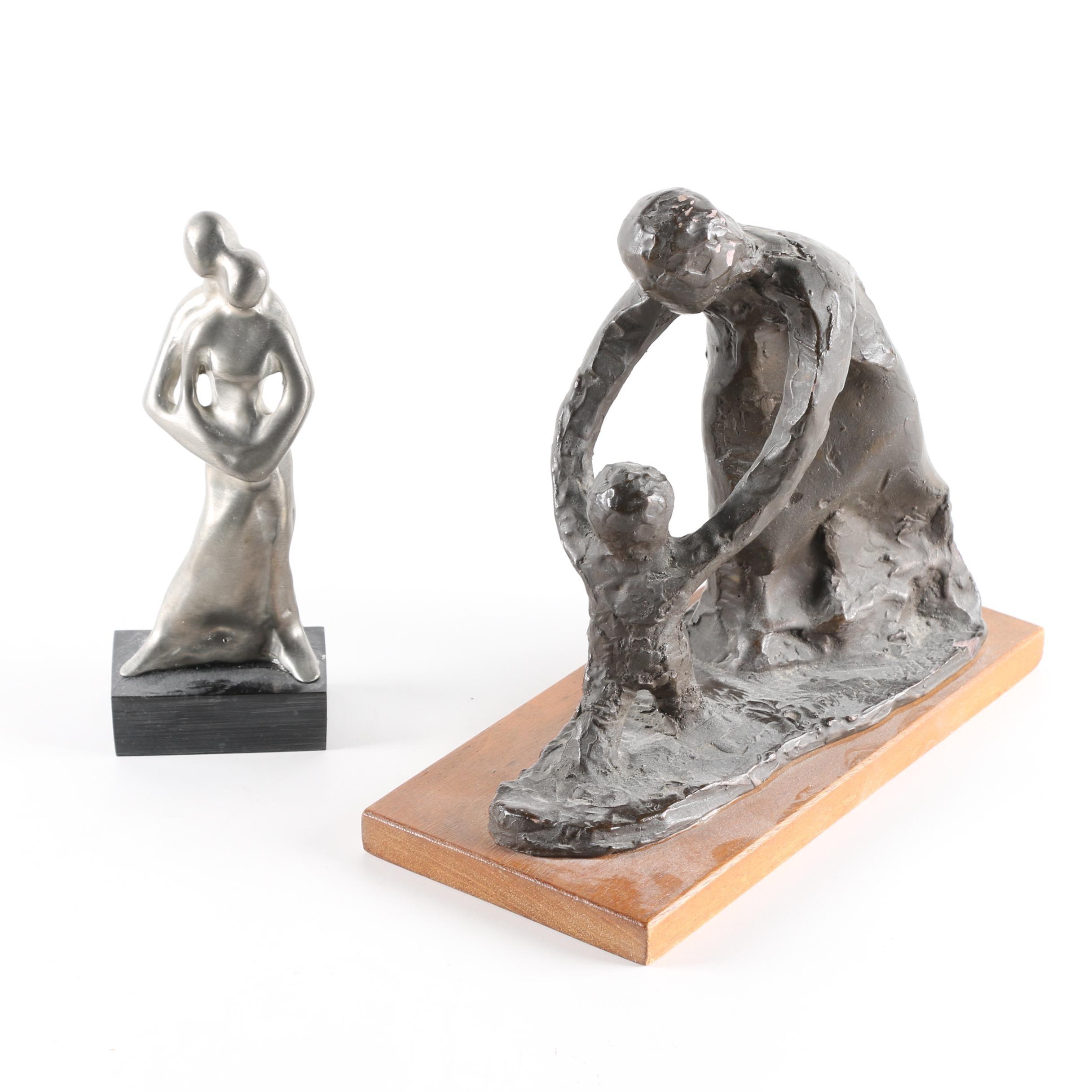 Figural Metal, Plaster and Wood Sculptures
