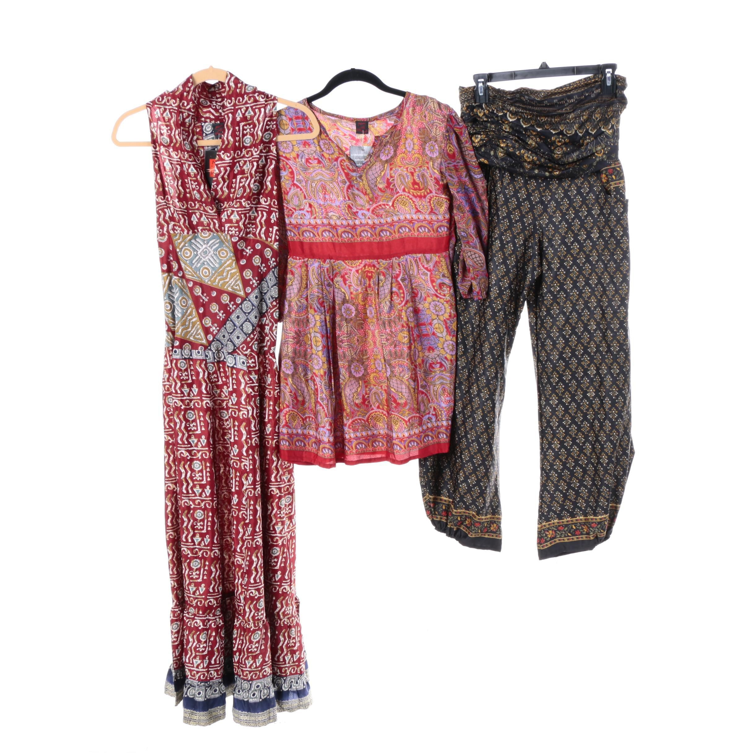 Women's Aller Simplement Vintage Sari Dress, Tunic Top and Palazzo Pants