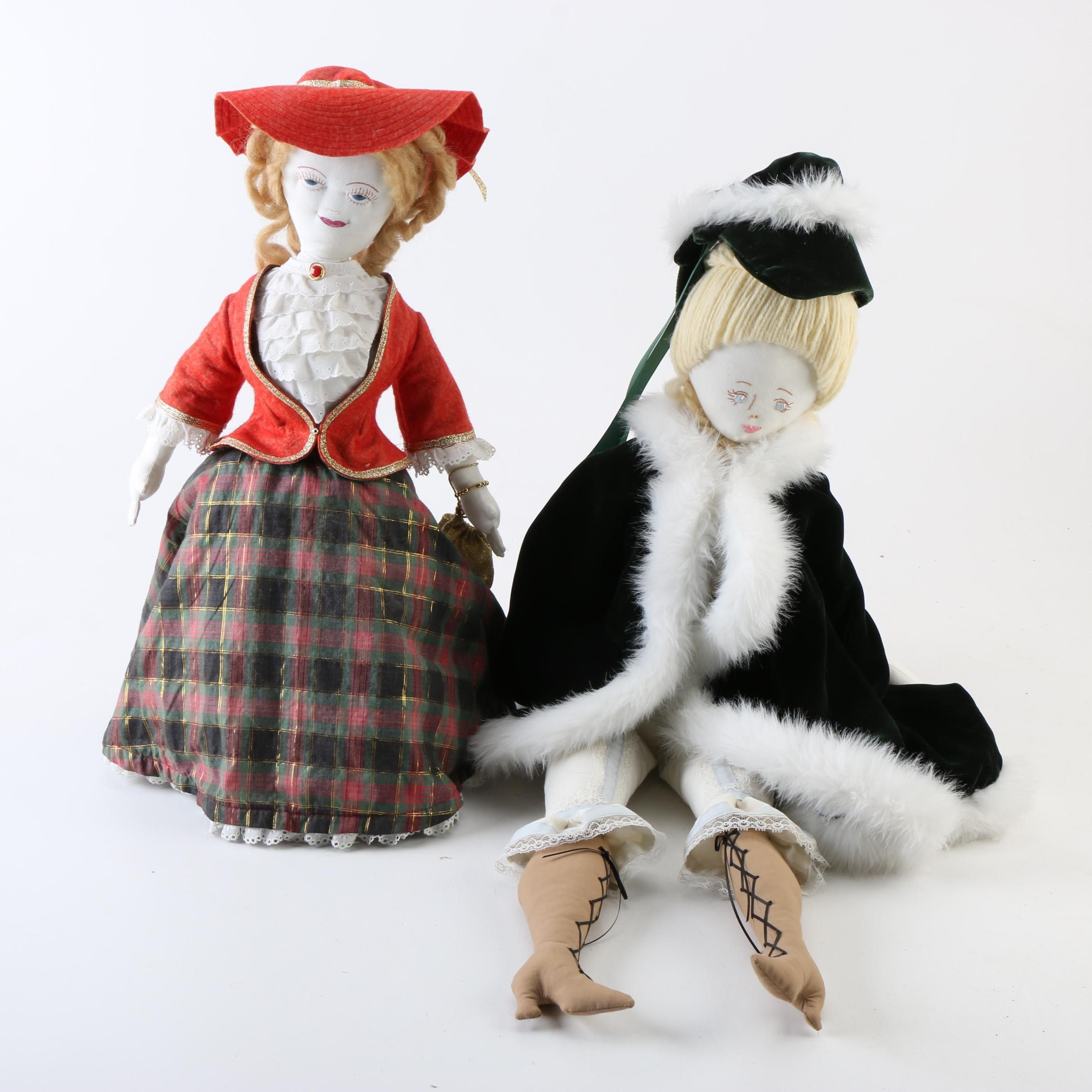Vintage Hand Crafted Plush Fashion Dolls