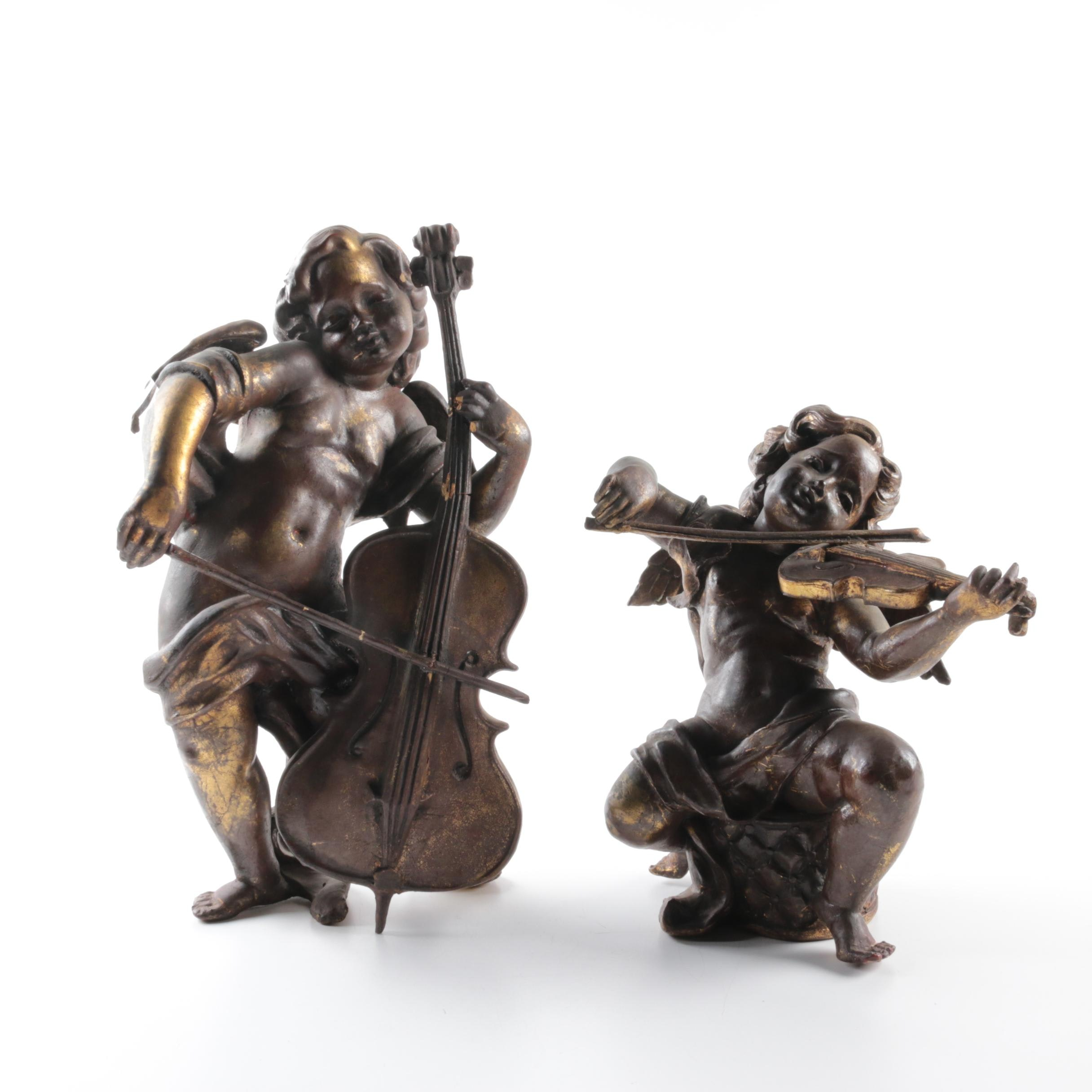 Two Carved Wooden Cherub with Instruments