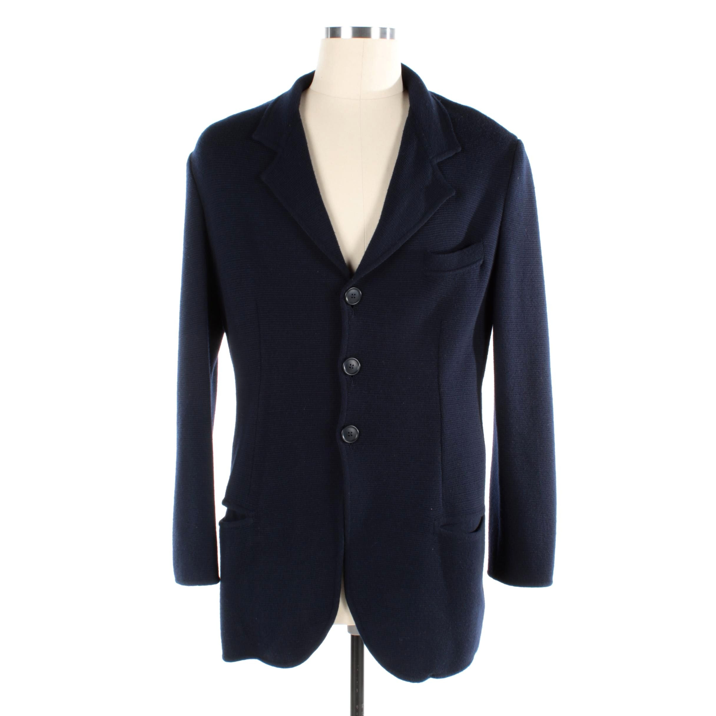 Men's Giorgio Armani Knit Navy Wool Sport Coat