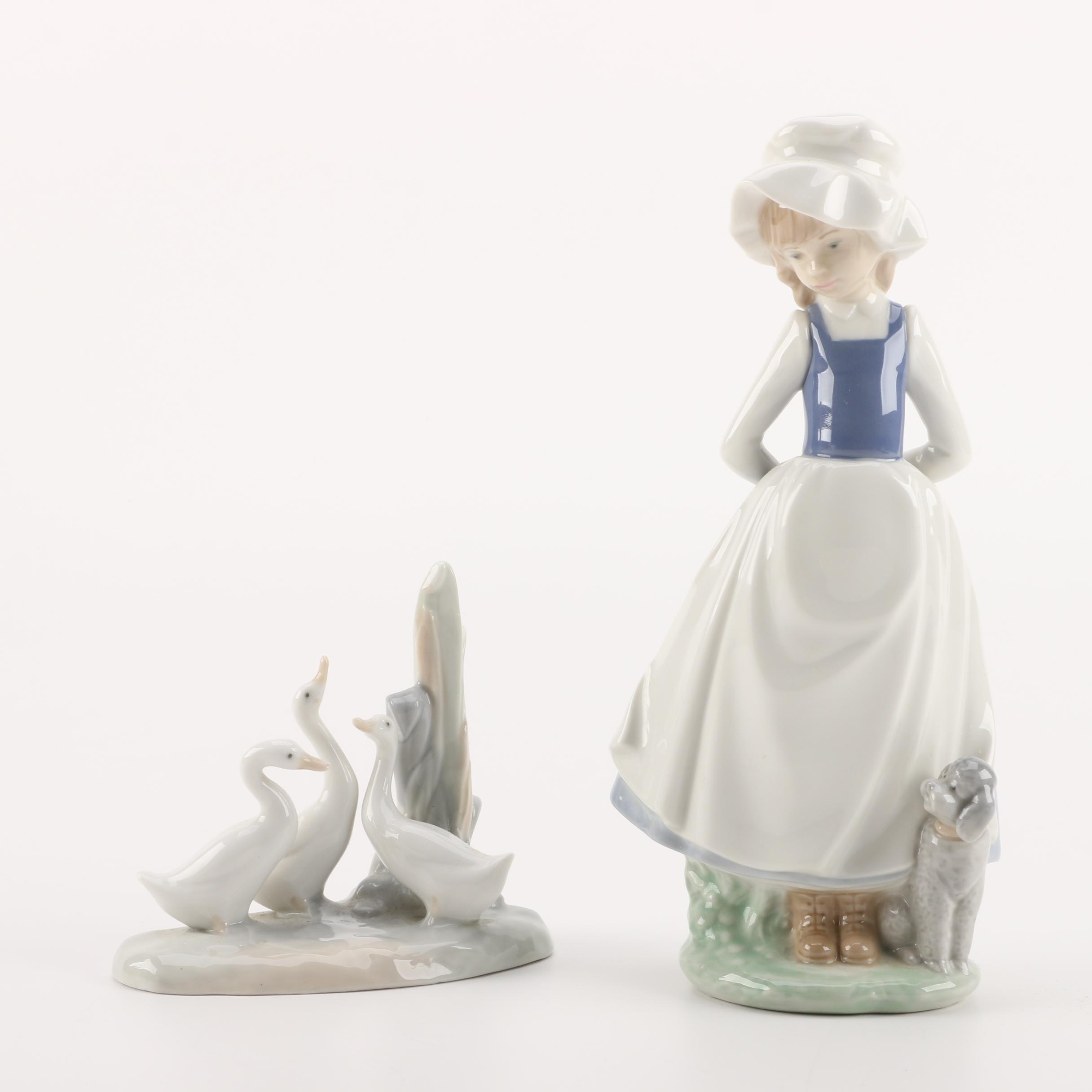NAO by Lladró Figurines of a Girl and Geese