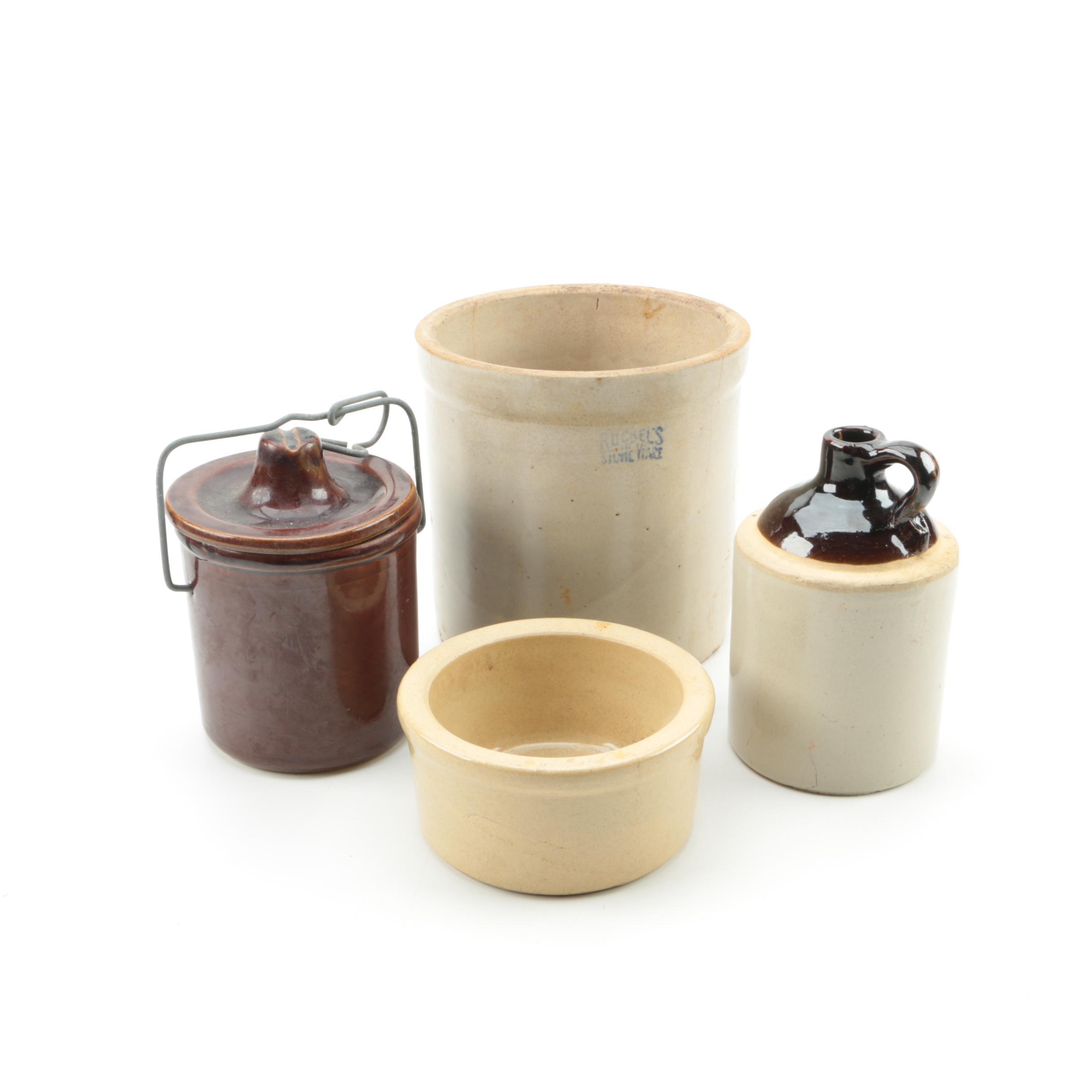 Vintage Salt Glazed Stoneware Crocks and a Jug