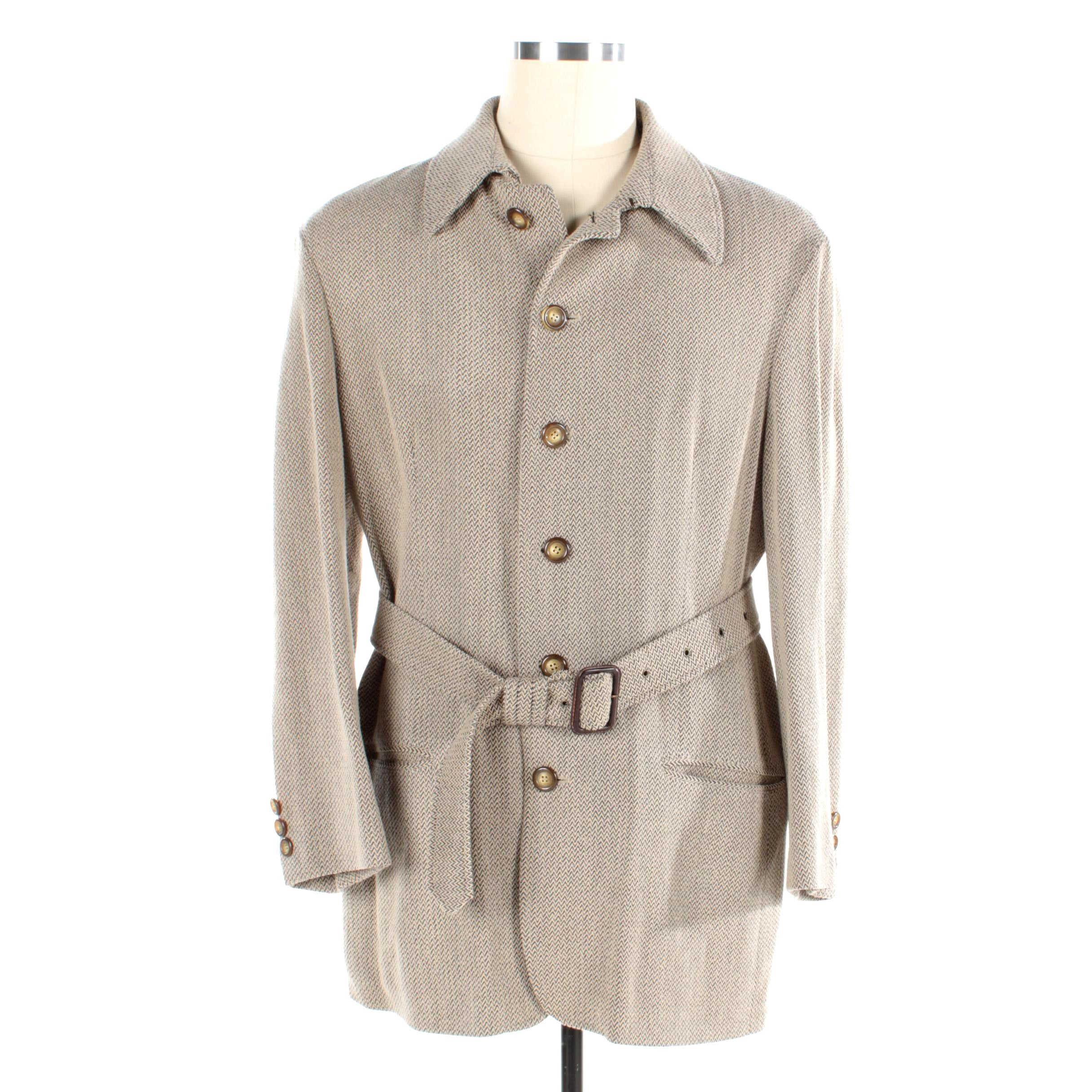 Men's Giorgio Armani Wool Blend Belted Jacket