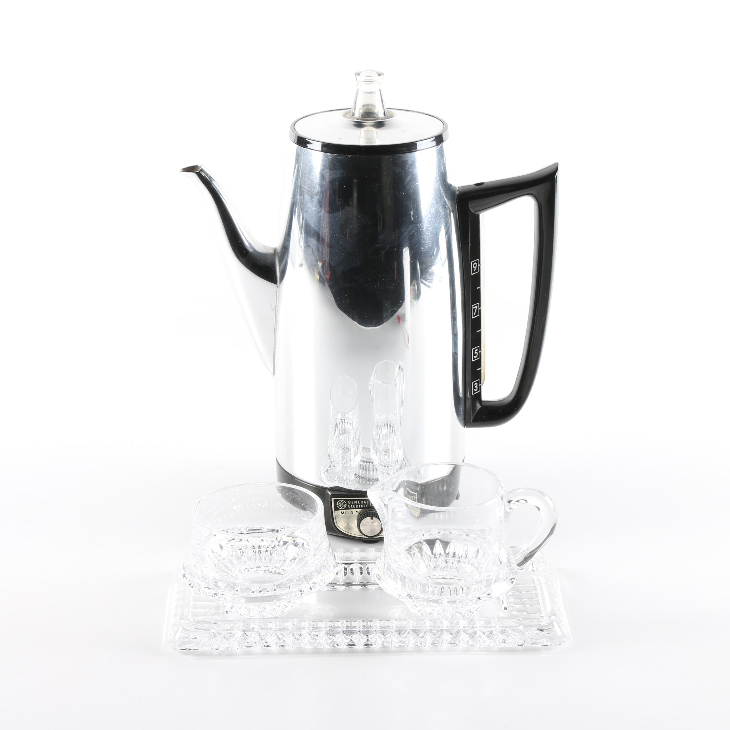 Crystal Sugar and Creamer with General Electric Immersible Coffee Percolator