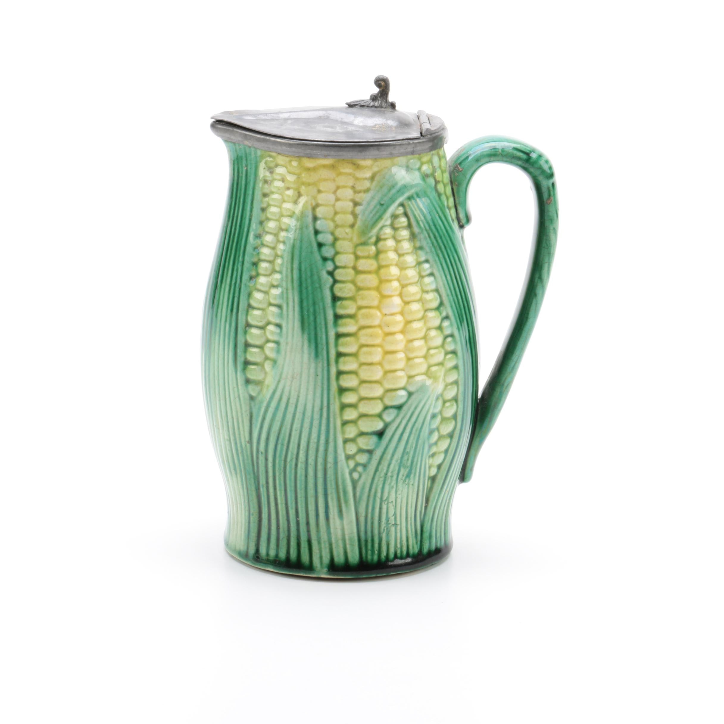 English Majolica Corn Shaped Pitcher with Pewter Lid