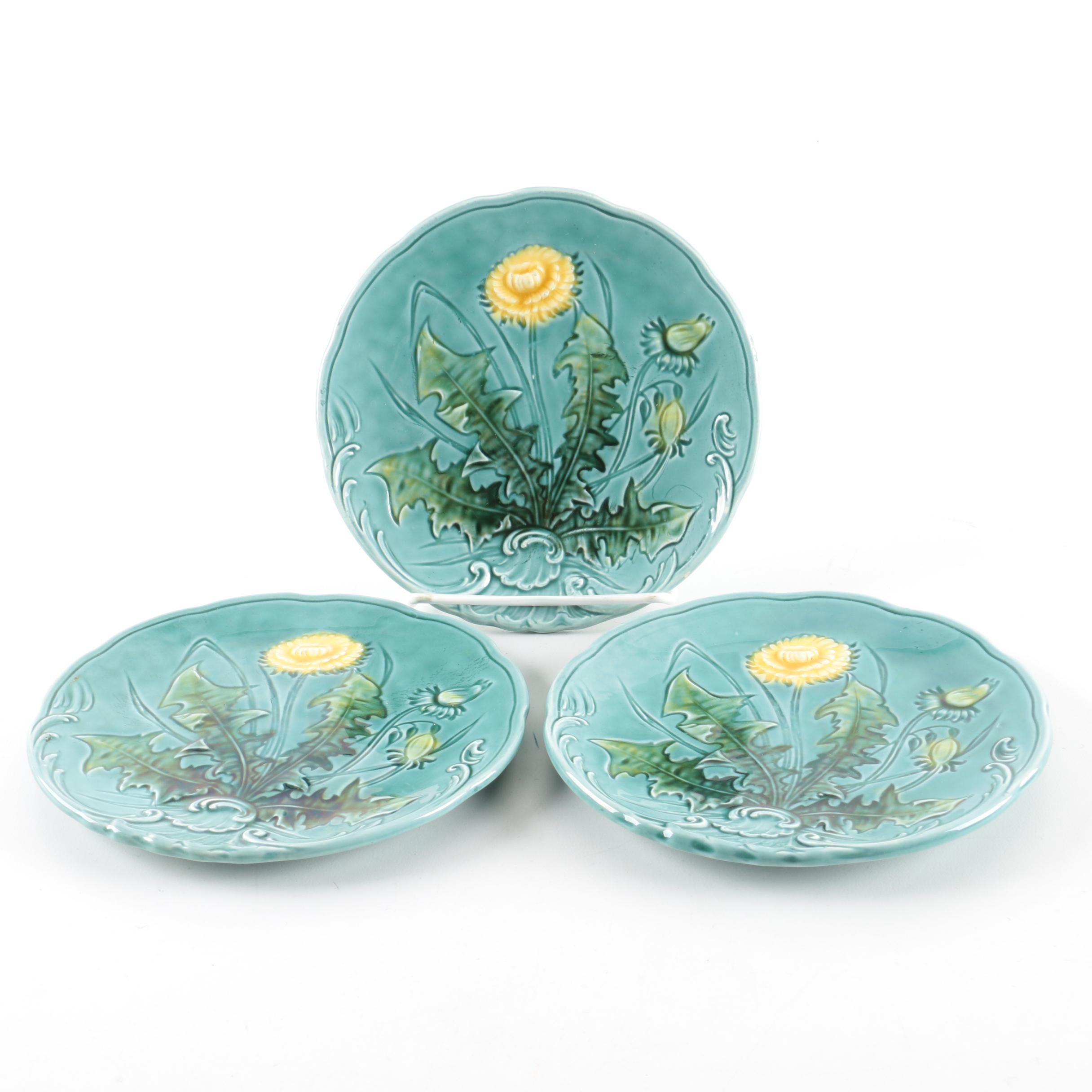 Vintage Baden G. S. Zell Turquoise Dandelion Majolica Plates