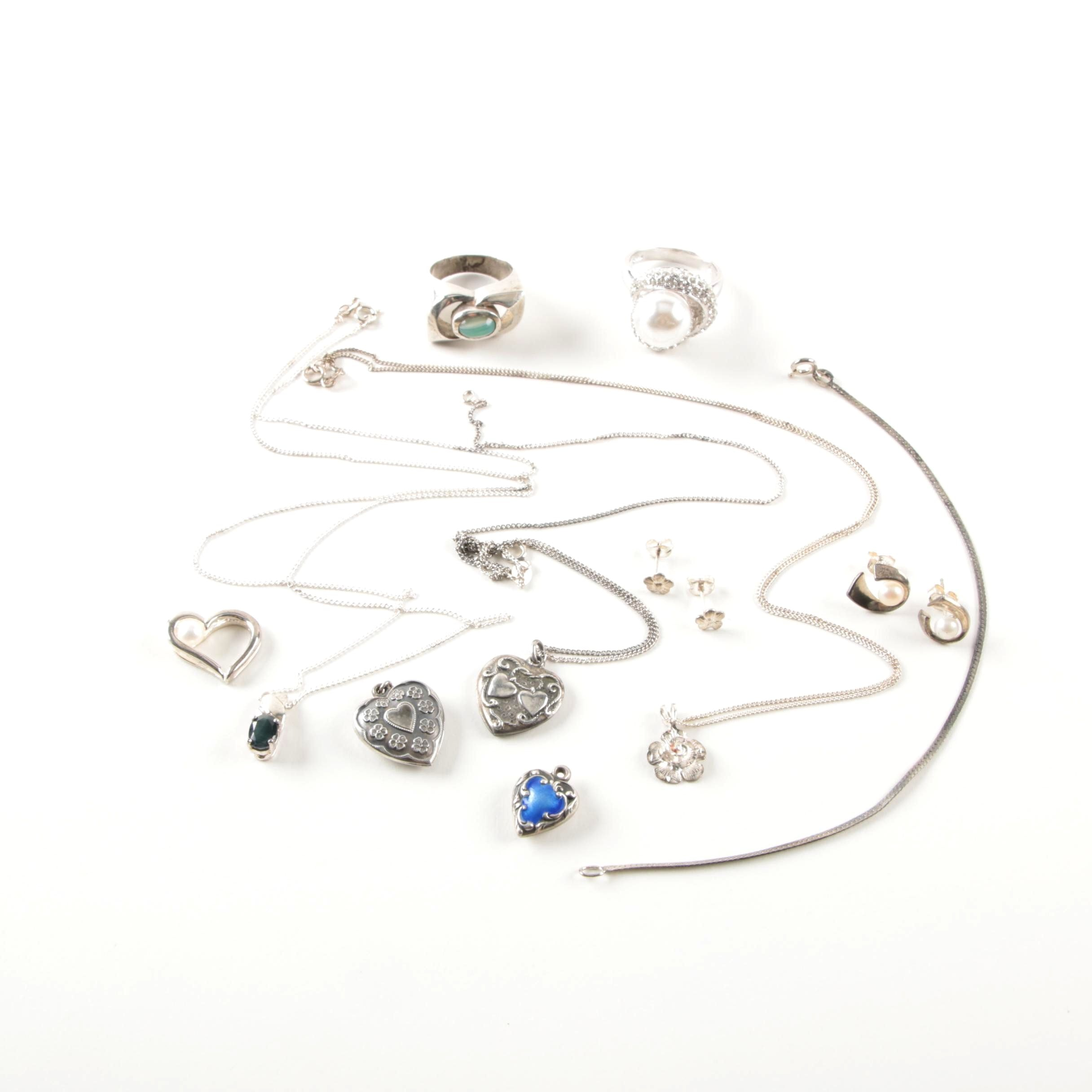 Sterling Silver and Gemstone Jewelry Including a Walter Lampl Pendant