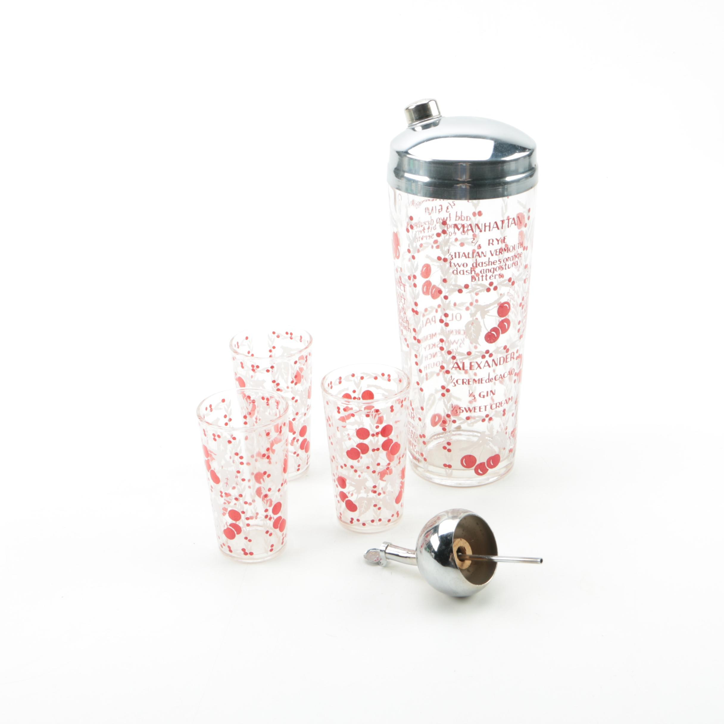 Vintage Glass Cocktail Shaker and Glasses with Red Cherries and Drink Recipes