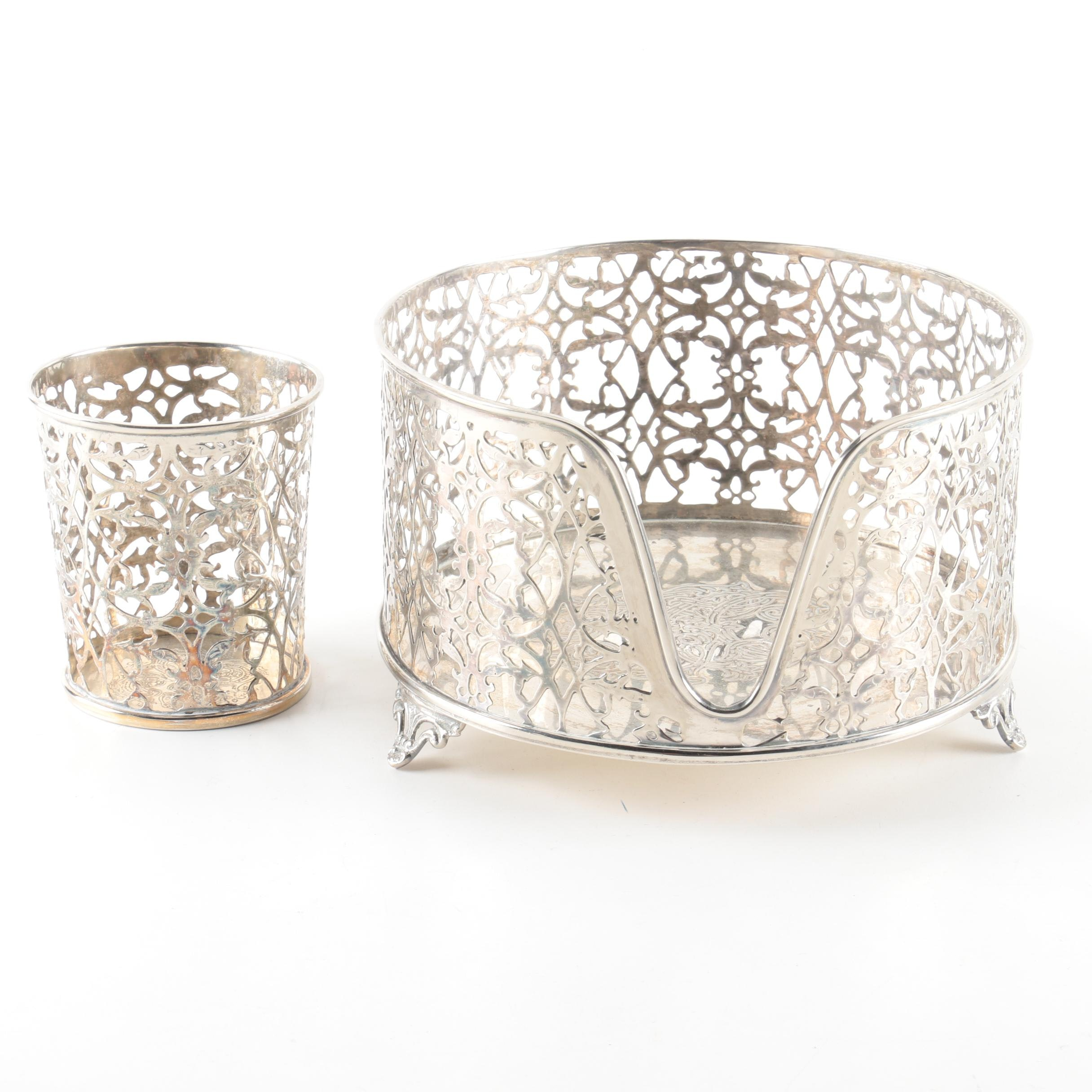 Silver Plate Openwork Serving Pieces Including Cup and Stand