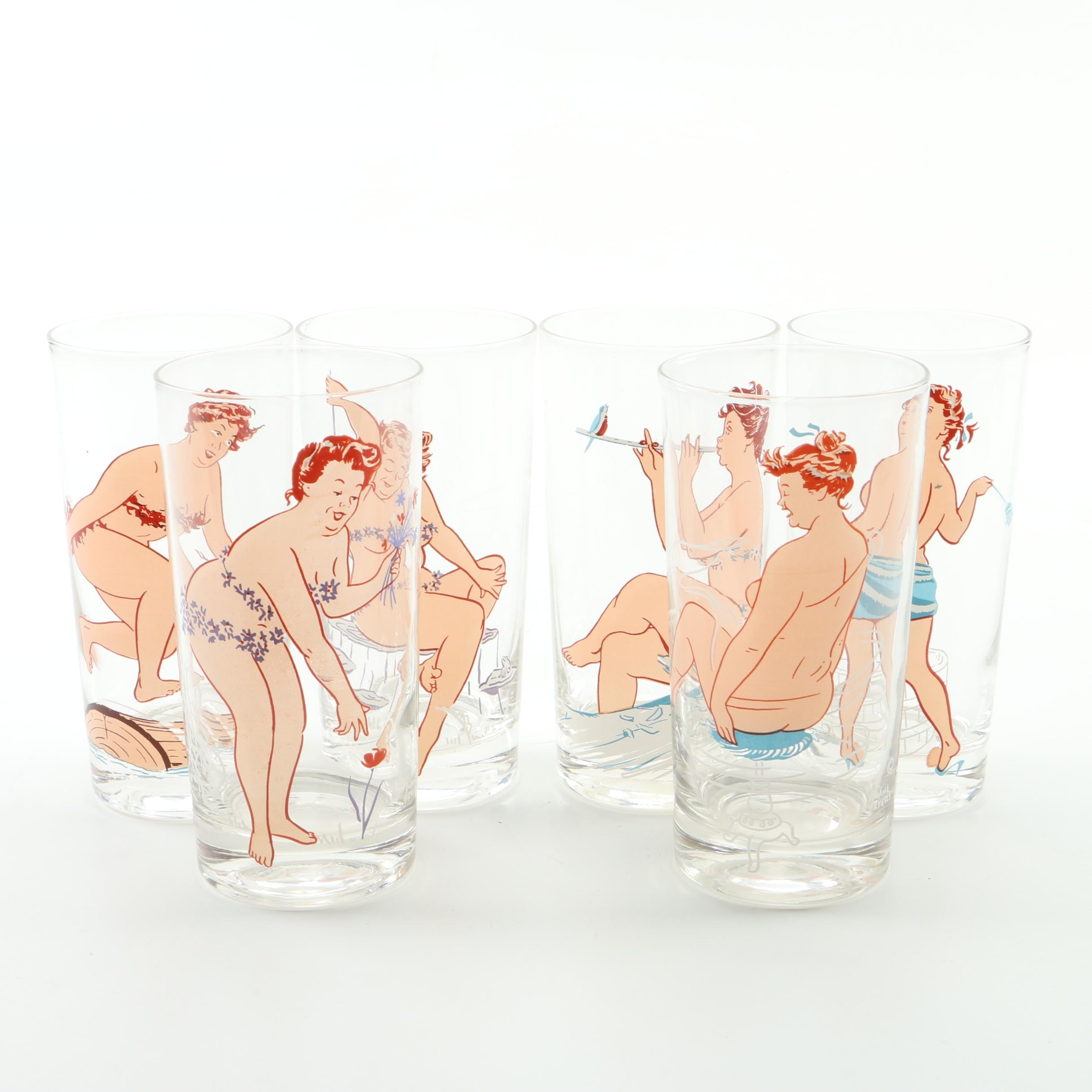 Vintage Duane Byres Pin-Up Glass Tumblers