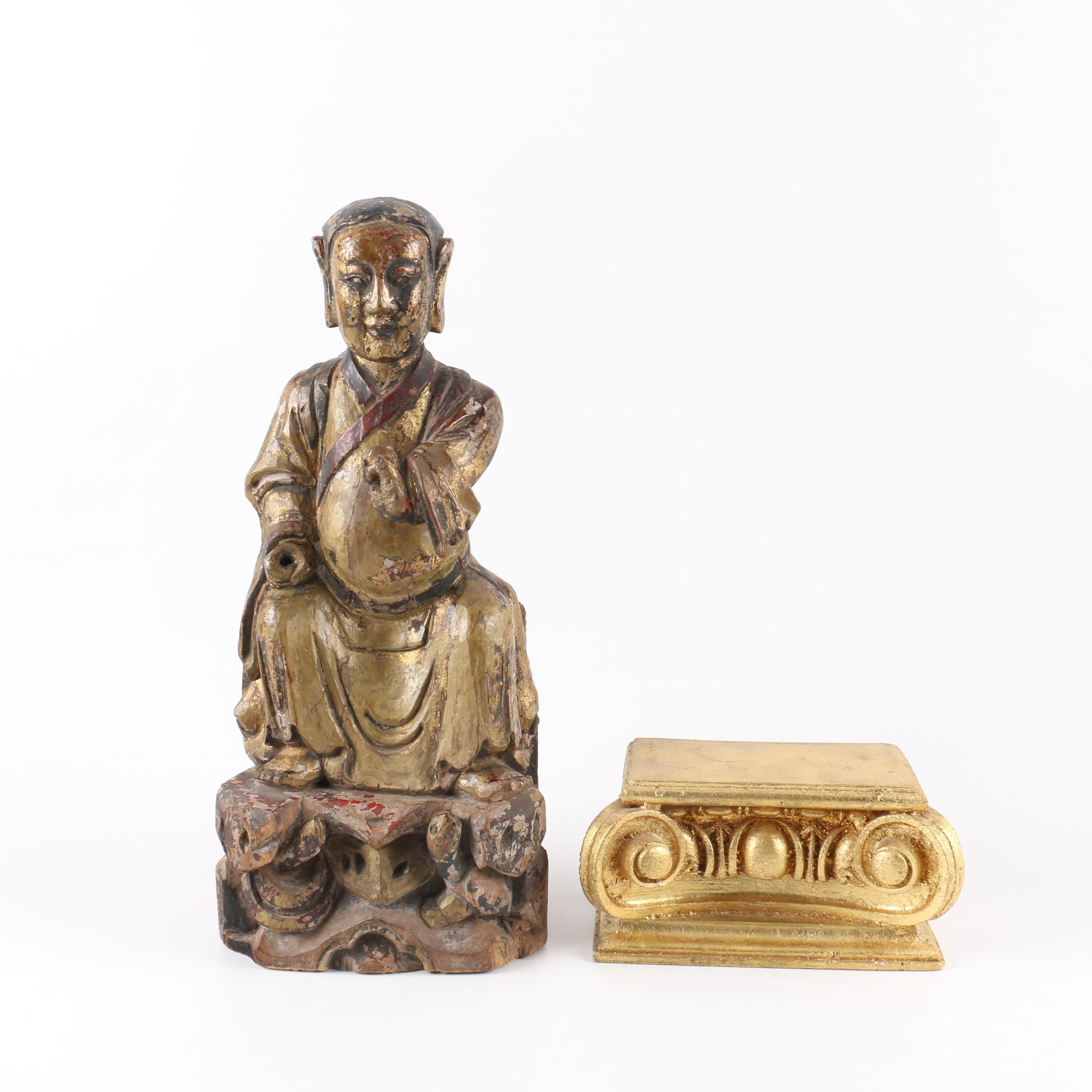 Antique Chinese Carved Wood Seated Figure