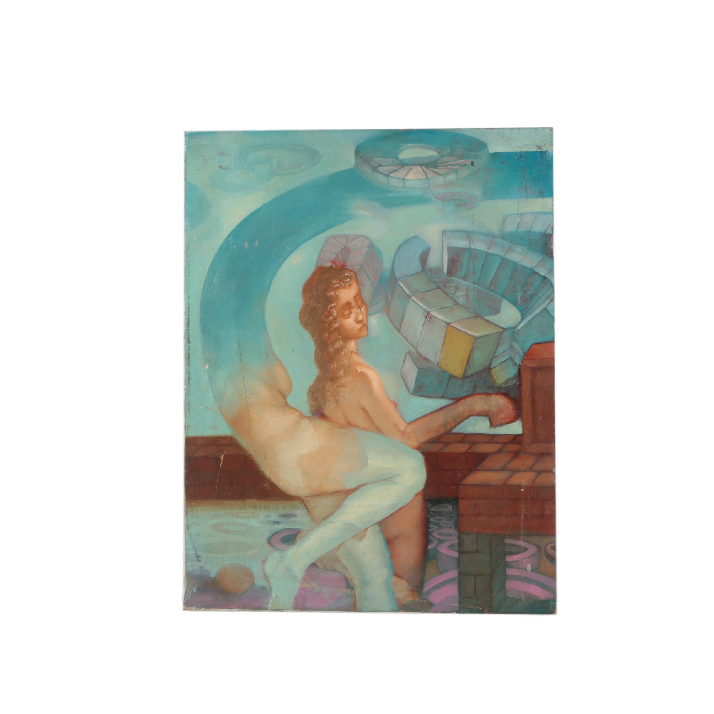 Oil Painting on Canvas of Surrealist Scene
