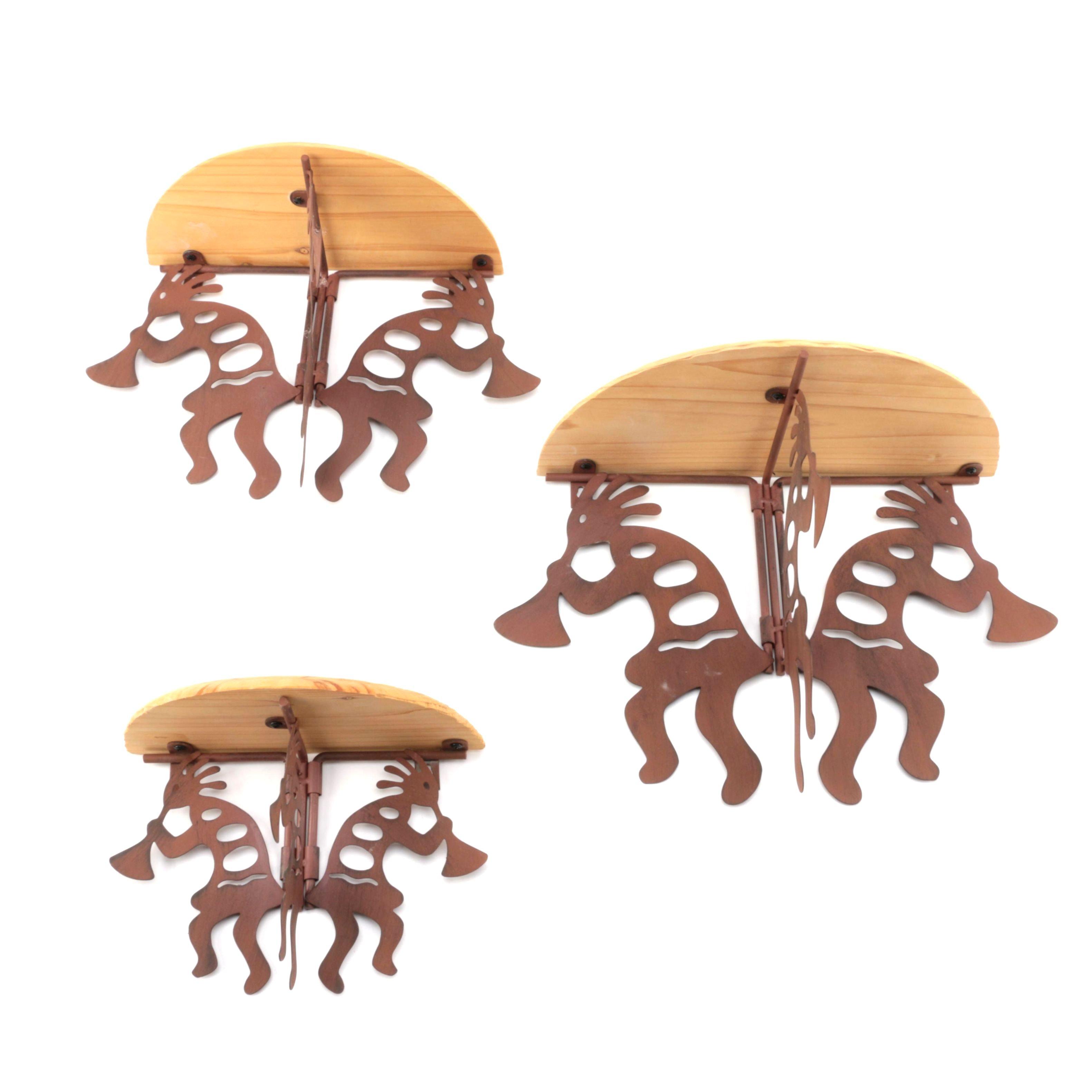 Decorative Wood and Metal Figure Wall Shelves