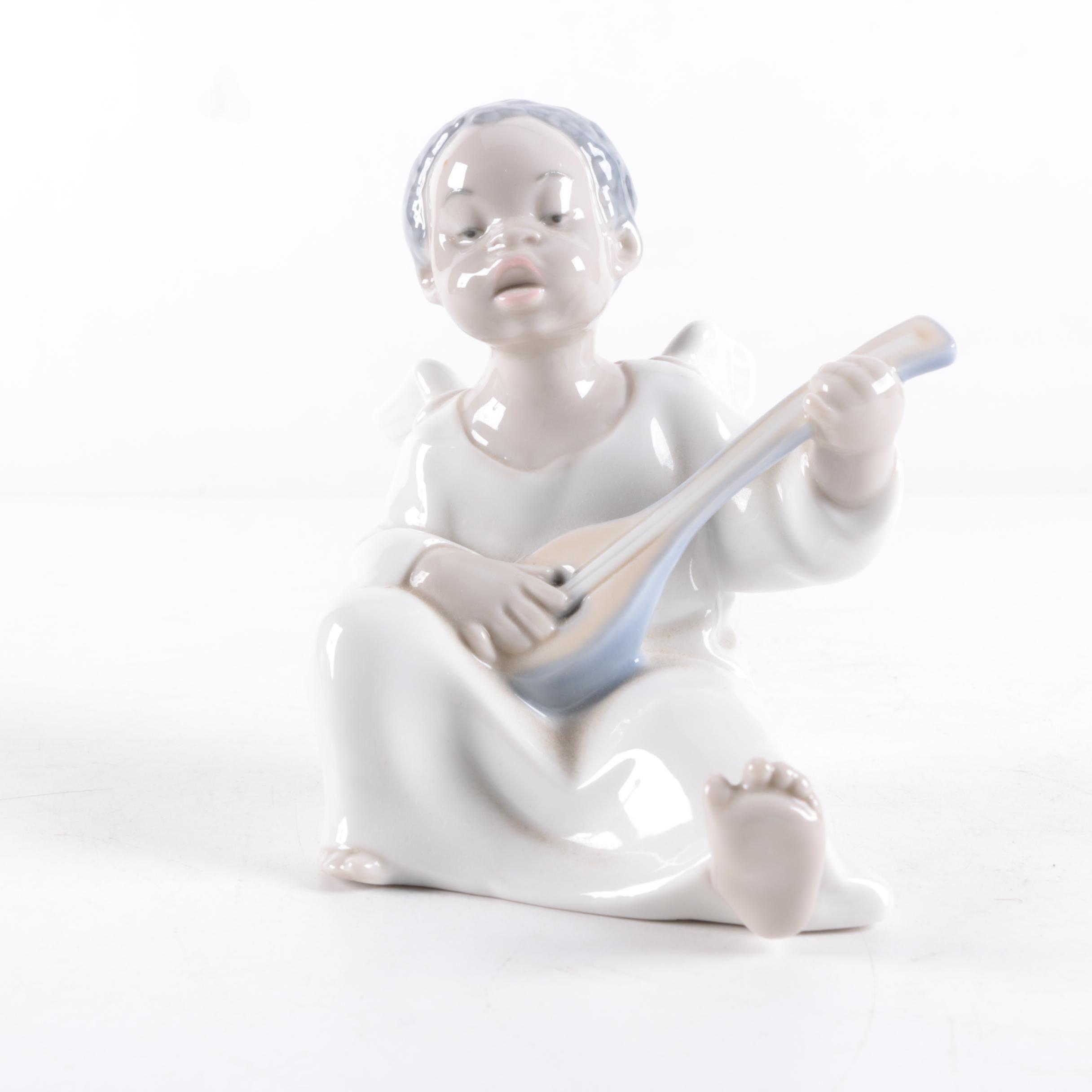 "Lladró ""Black Legacy Collection"" Porcelain Angel Playing Mandolin"