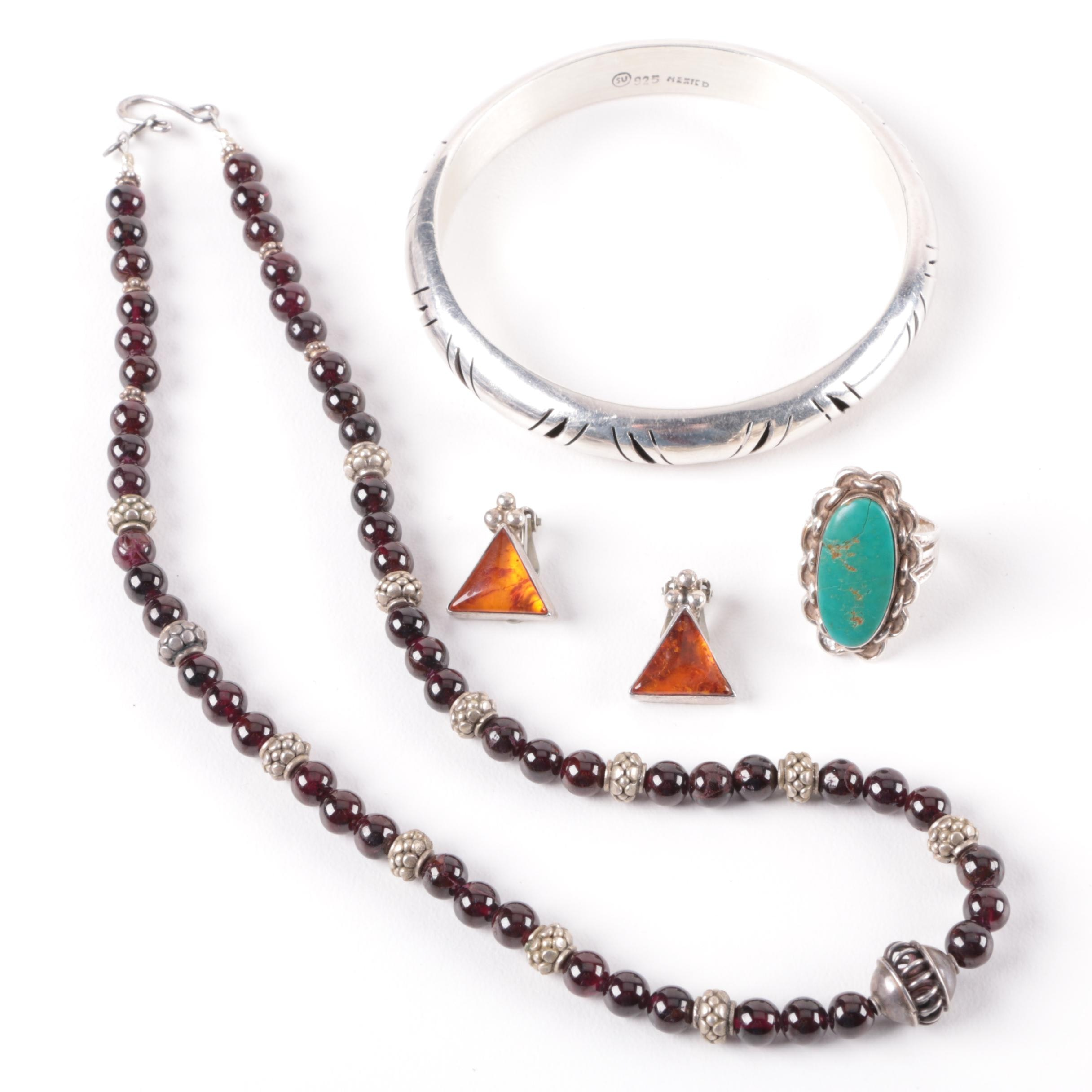 Assortment of Southwestern Style Garnet, Amber and Turquoise Jewelry