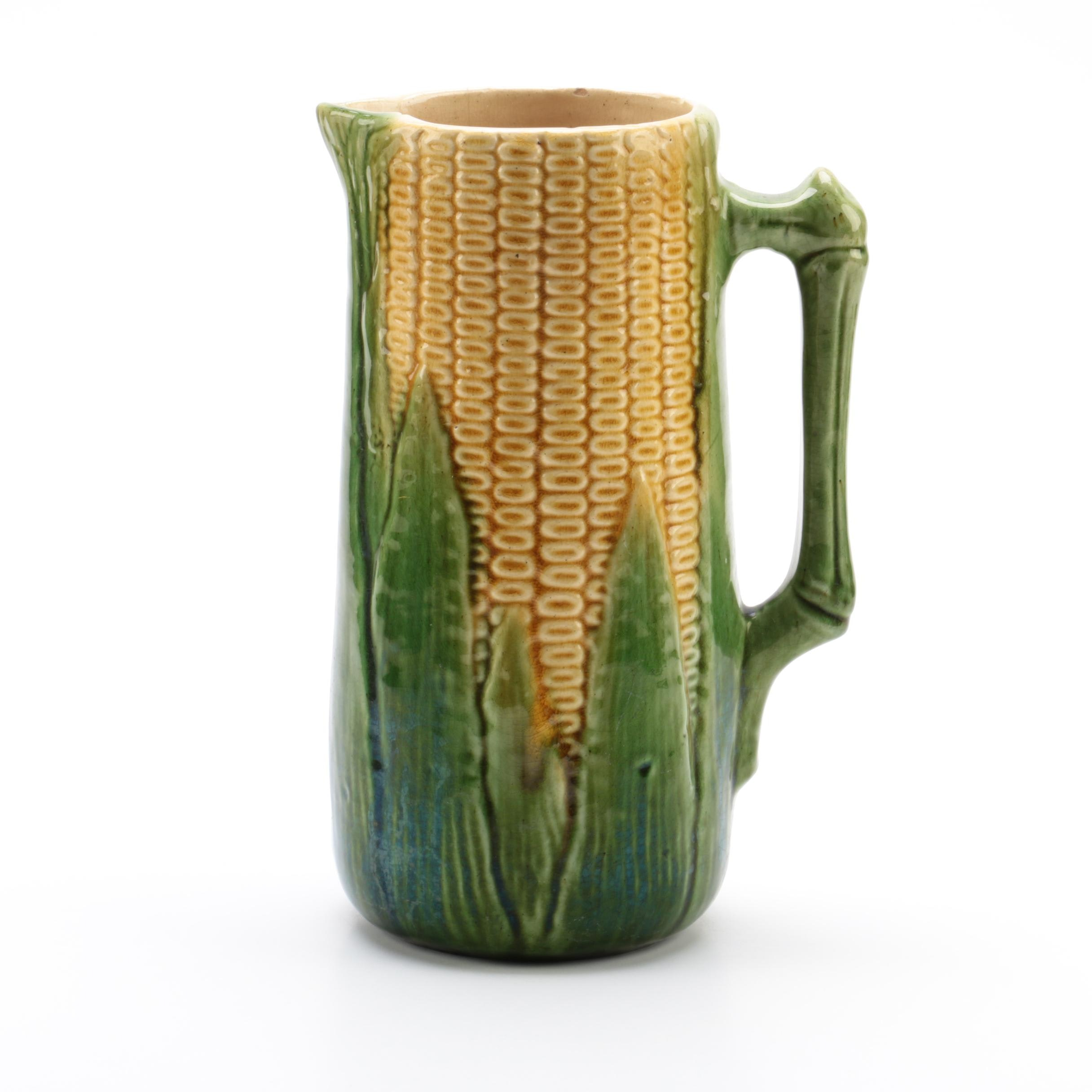 Majolica Ceramic Corn Cob Pitcher