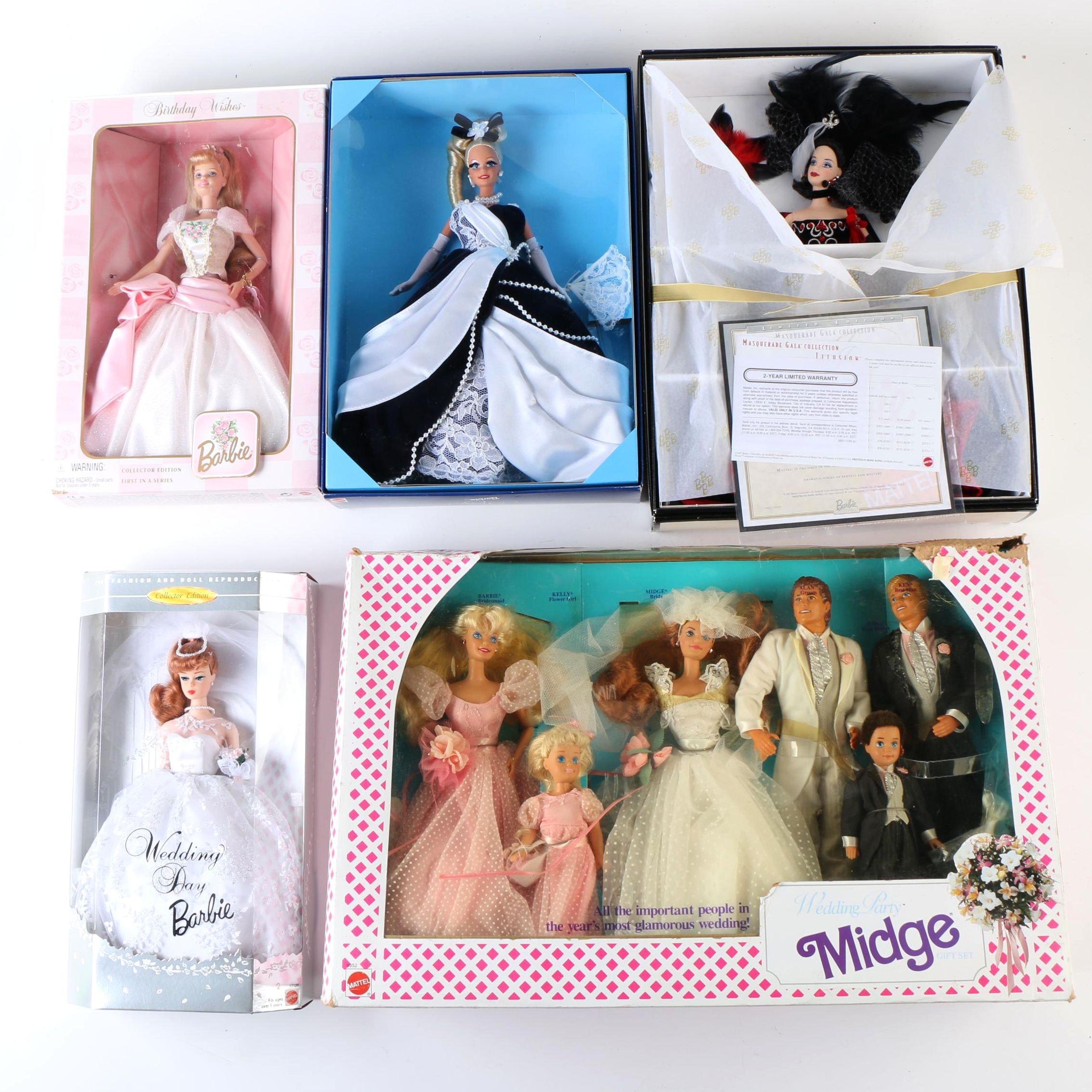 "Vintage Mattel Barbie Dolls Featuring ""Wedding Party Midge"" Set"