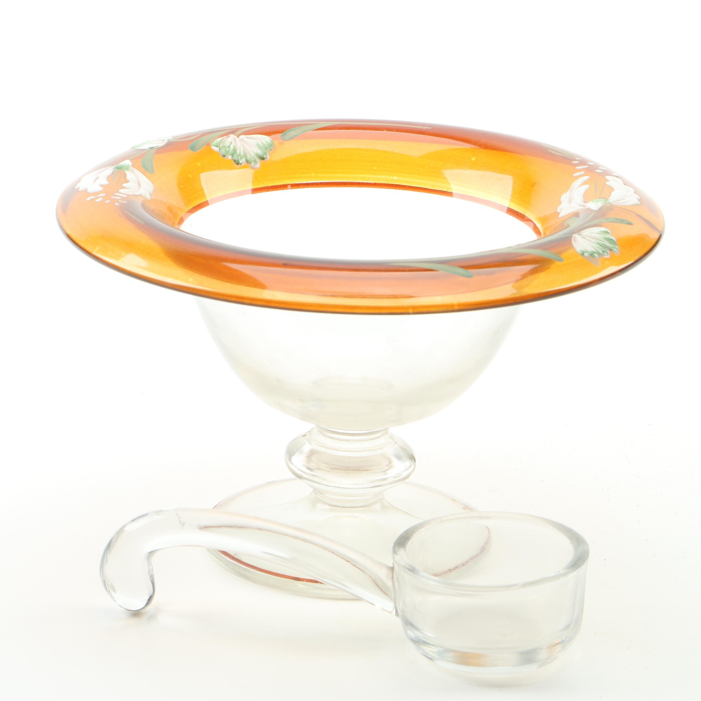 Vintage Painted Glass Mayonnaise Bowl and Ladle