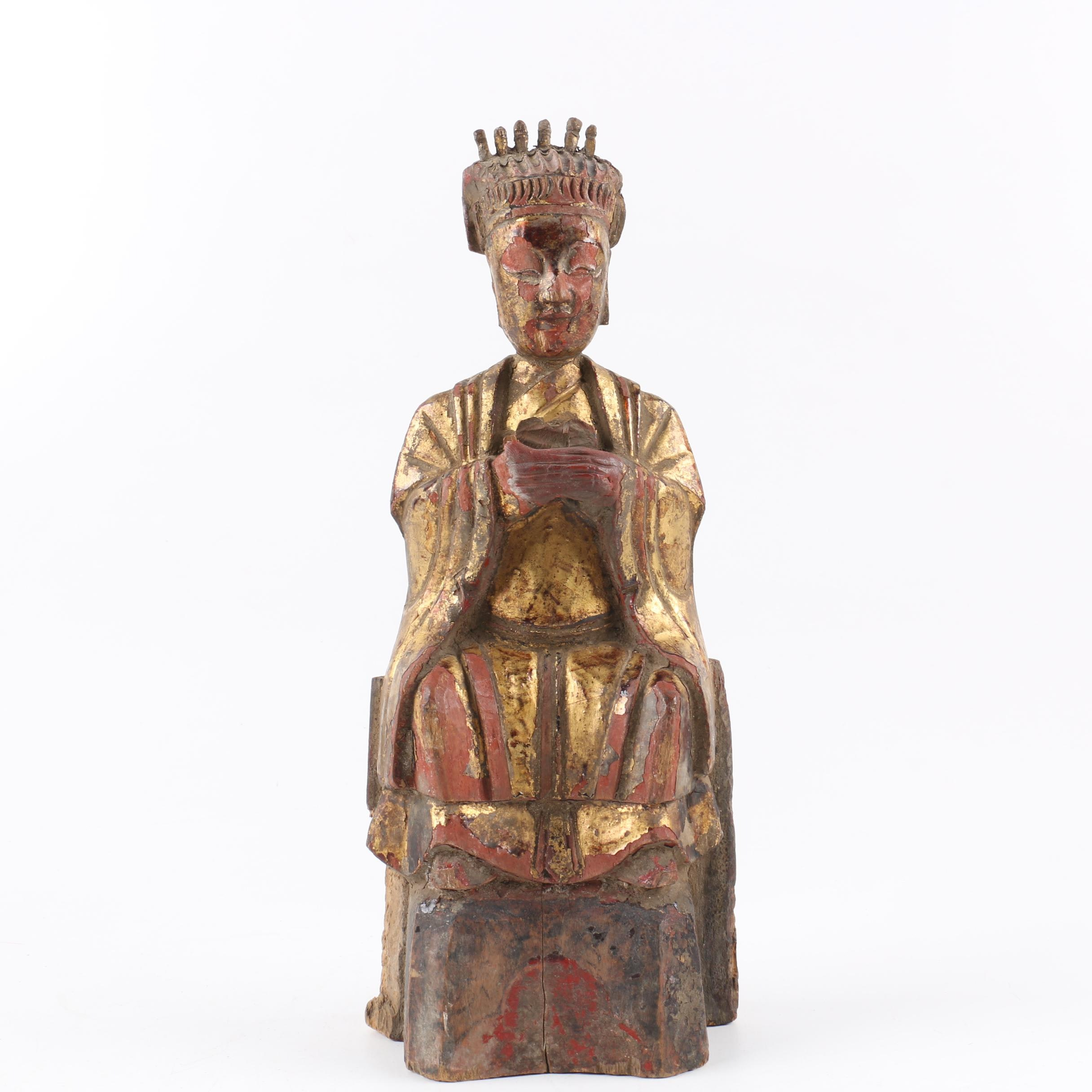 Chinese Carved Wood Gilt and Polychrome Lady with Crown