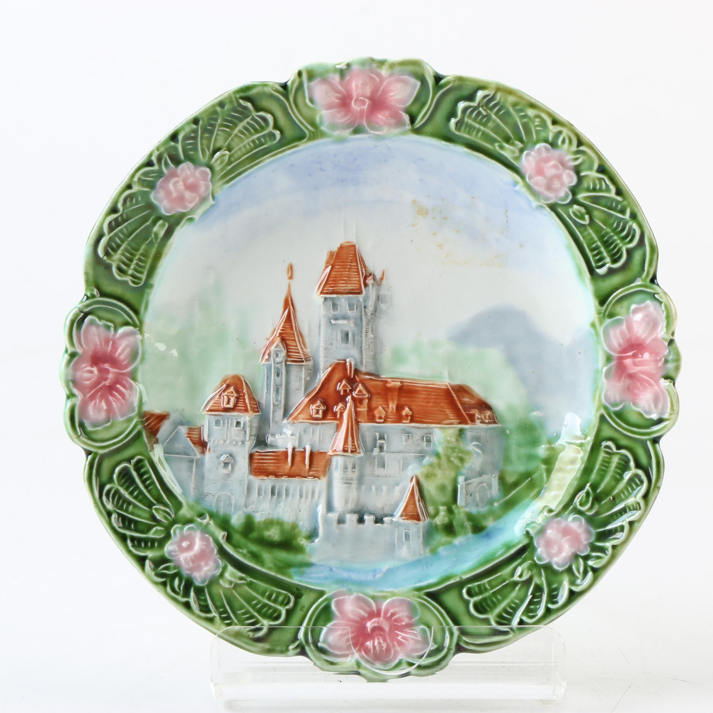 Antique German Majolica Plate with Castle
