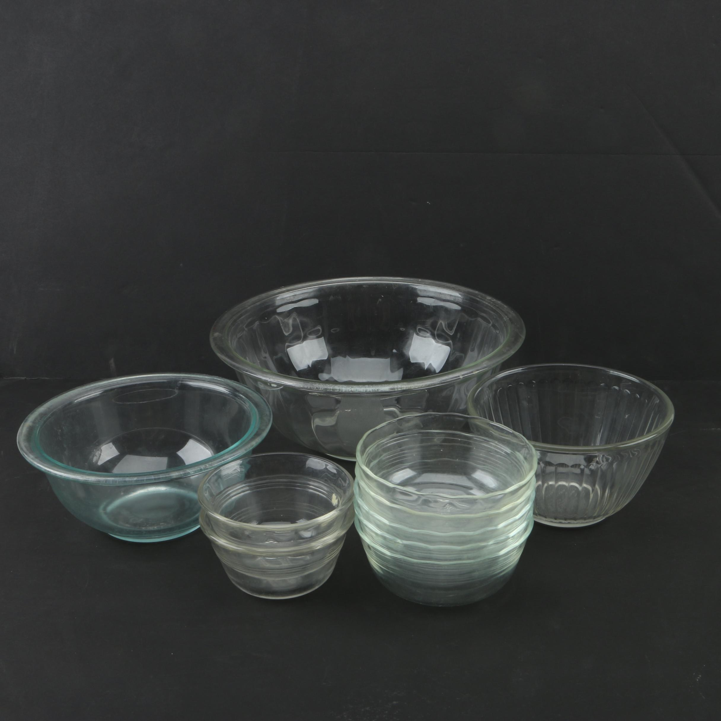 Pyrex Glass Mixing Bowls, Ramekins and Tableware