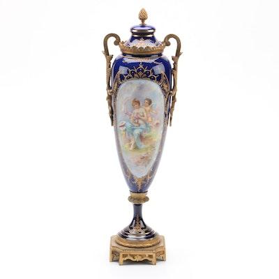 Antique Sevres Style Chateau des Tuileries Porcelain Urn