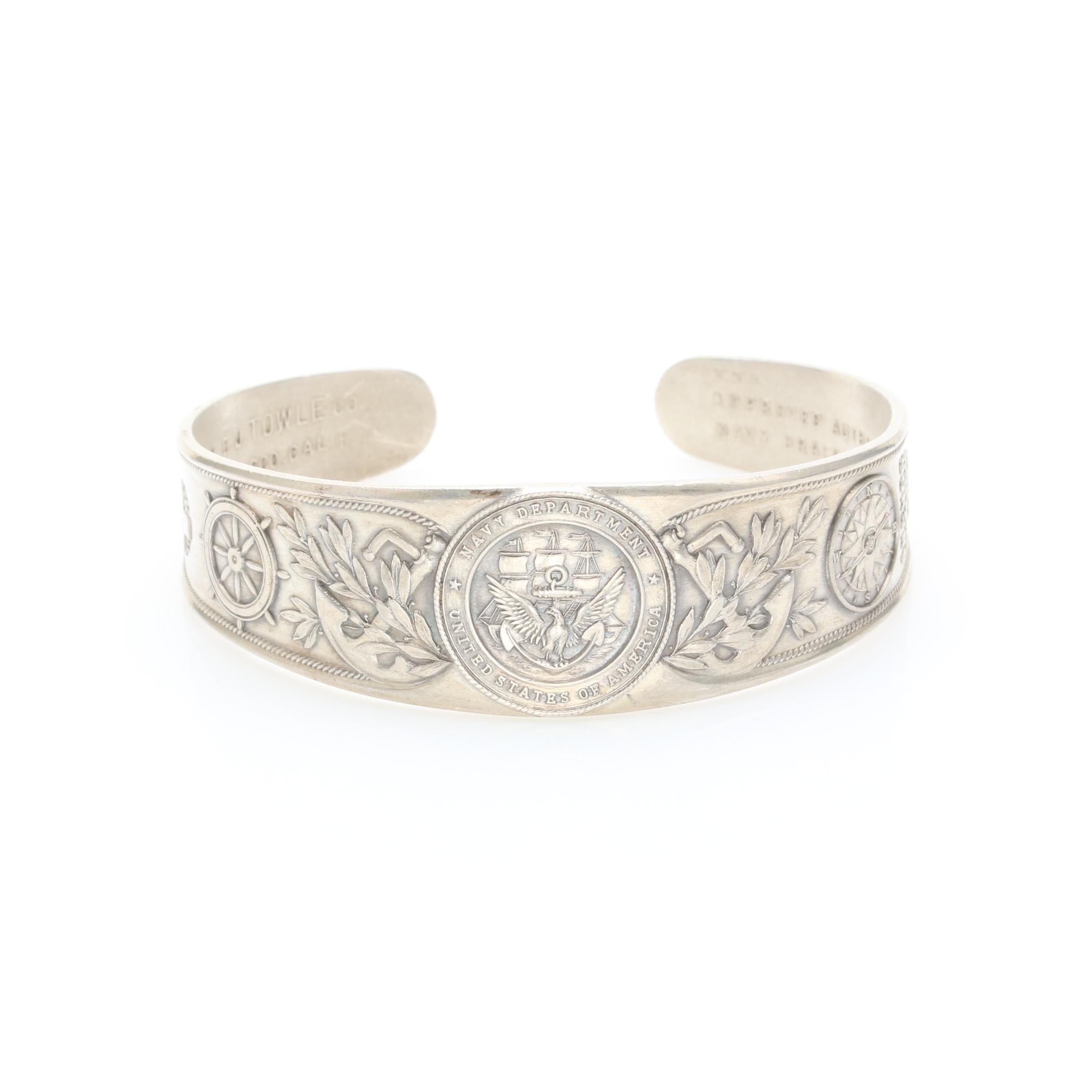 Sterling Silver Navy Department Cuff Bracelet