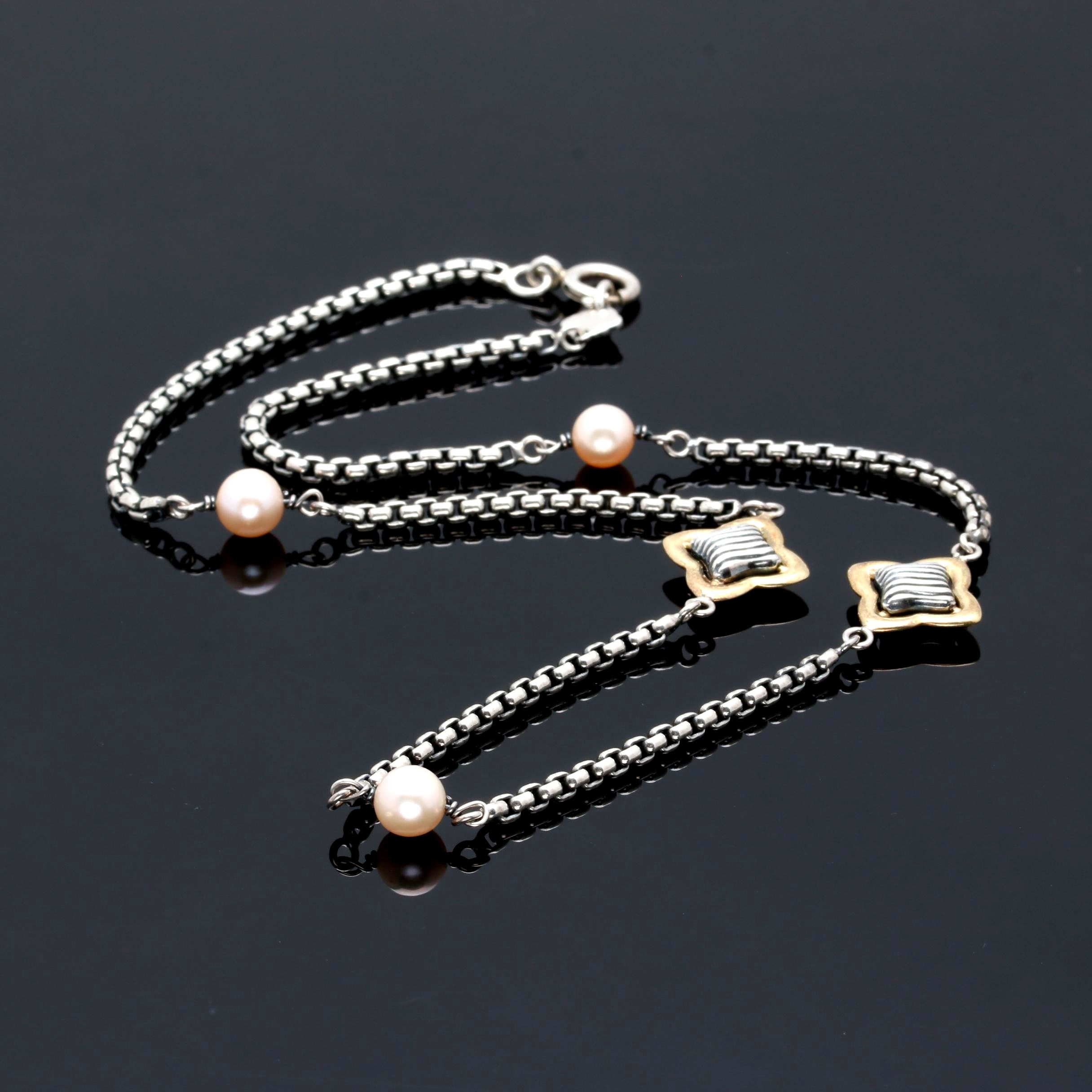 Sterling Silver Cultured Pearl Necklace Including 18K Accents